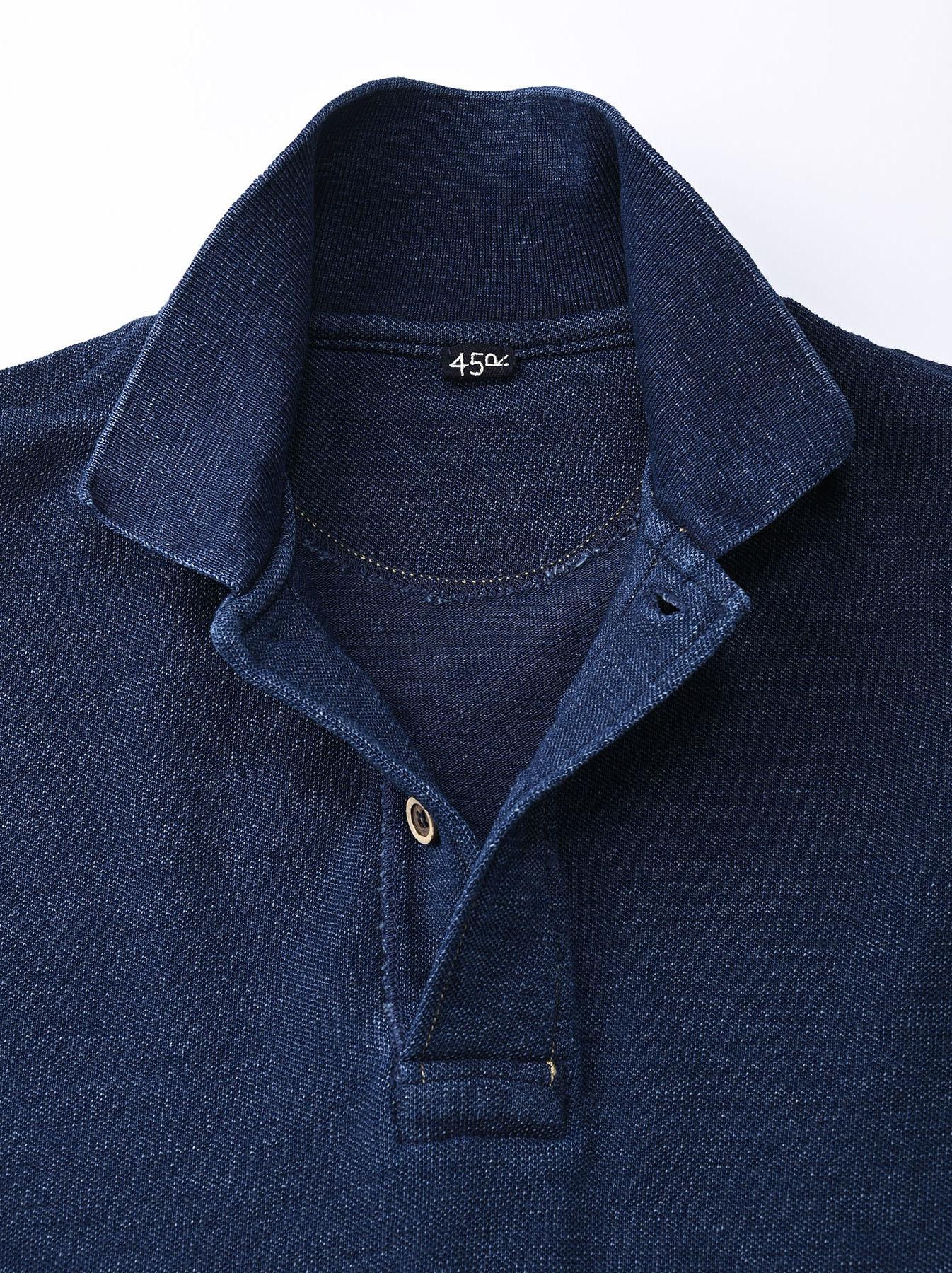 Indigo Kanoko Shiokaze Long-sleeved Square Polo Shirt (0521)-7