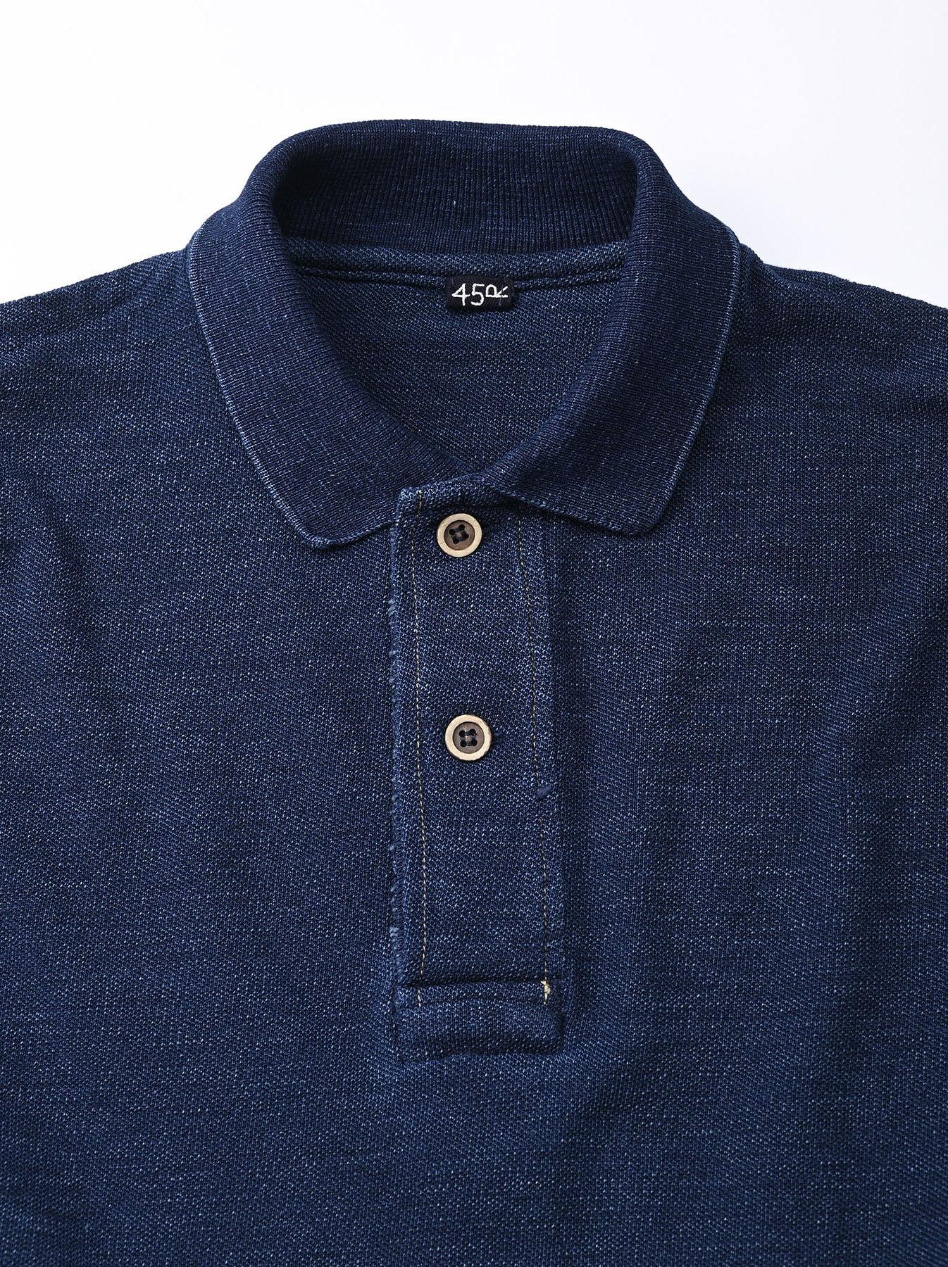 Indigo Kanoko Shiokaze Long-sleeved Square Polo Shirt (0521)-8