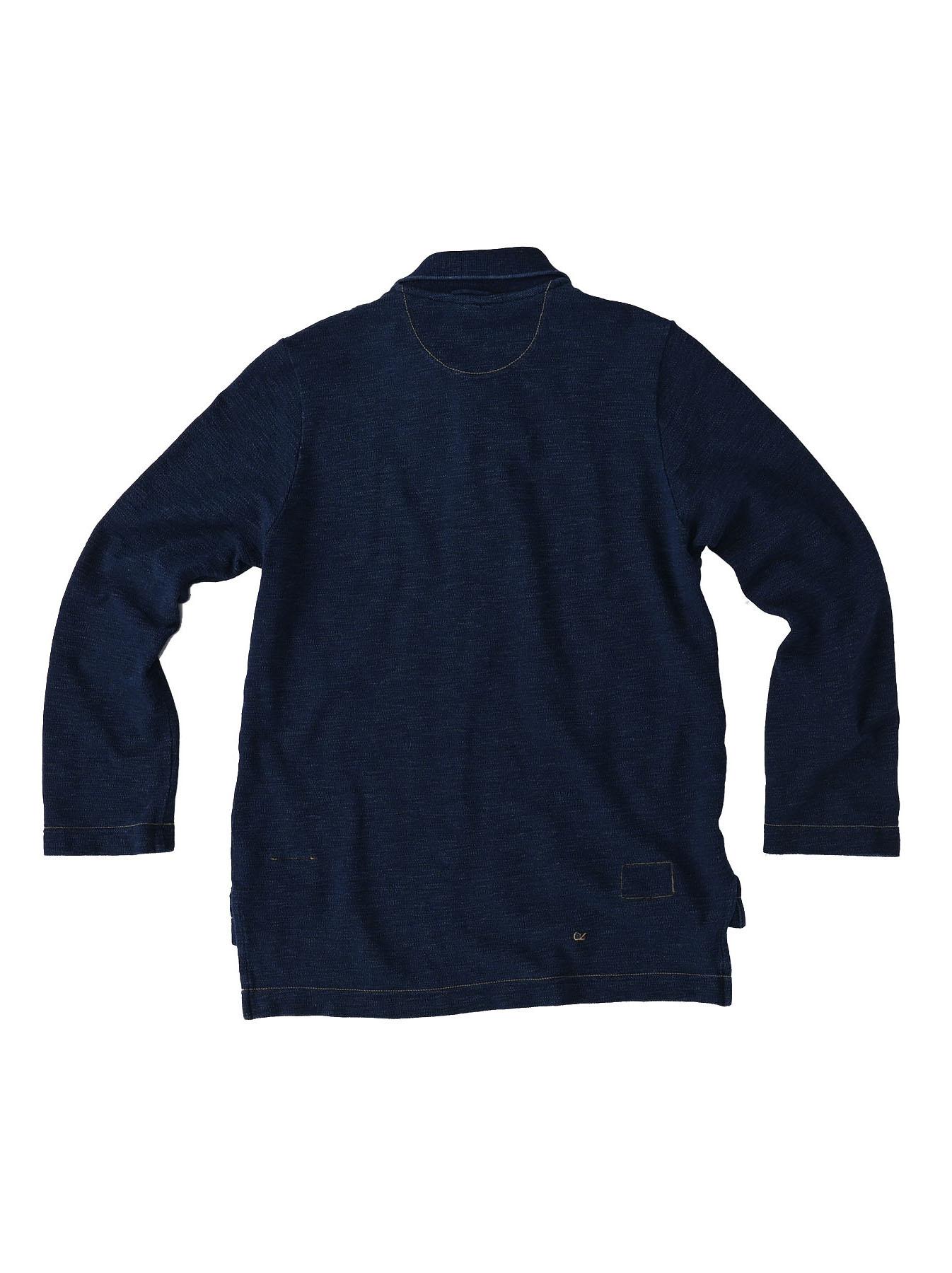 Indigo Kanoko Shiokaze Long-sleeved Square Polo Shirt (0521)-5