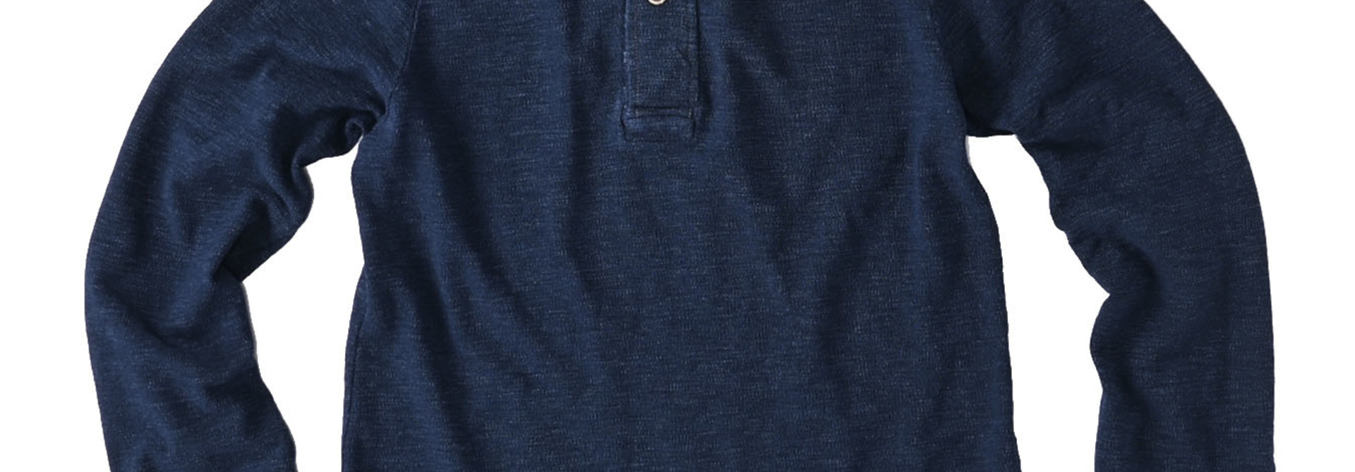 Indigo Kanoko Shiokaze Long-sleeved Square Polo Shirt (0521)