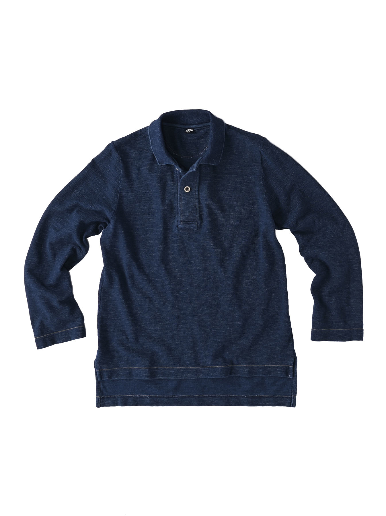 Indigo Kanoko Shiokaze Long-sleeved Square Polo Shirt (0521)-1