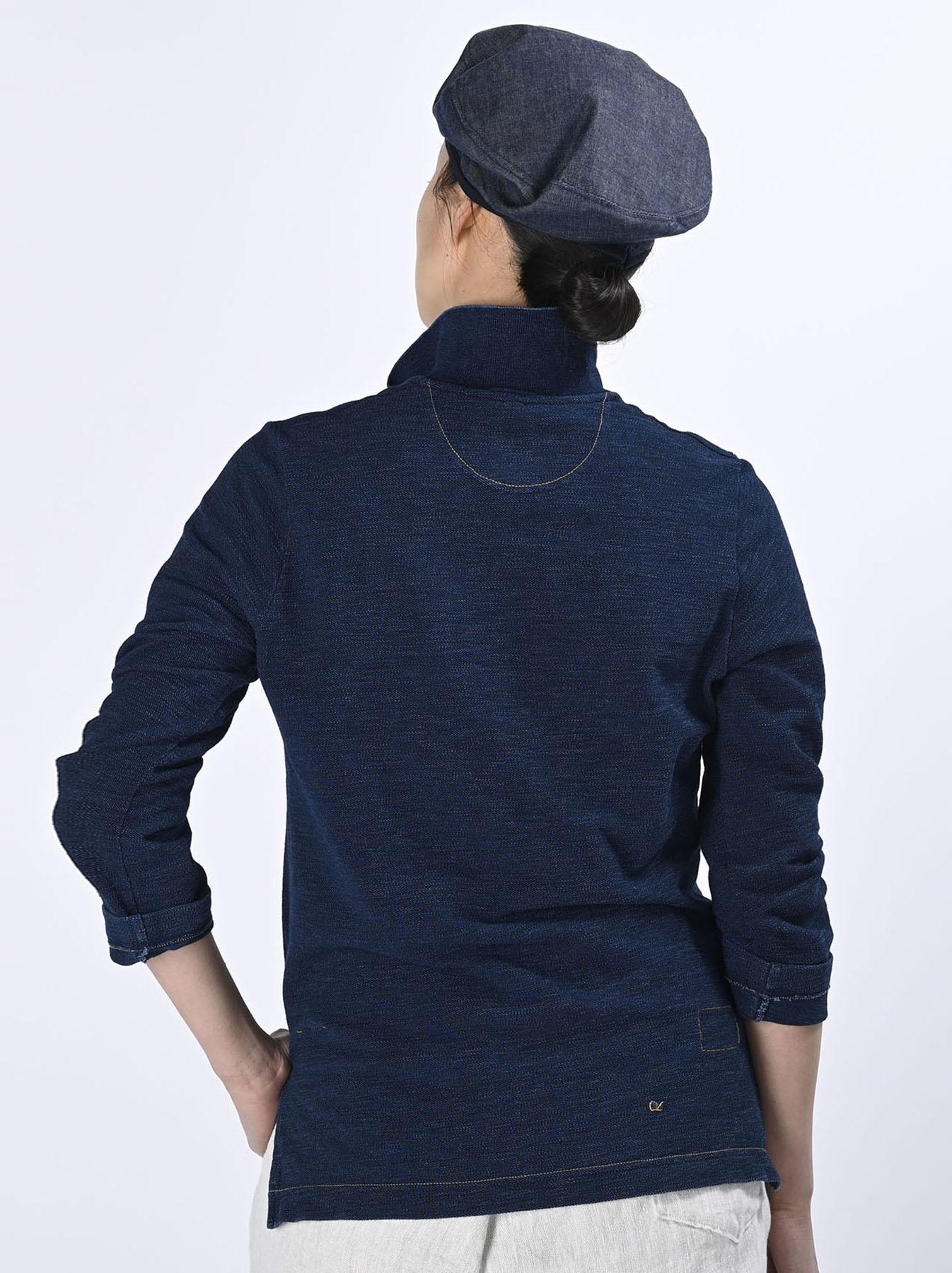 Indigo Kanoko Shiokaze Long-sleeved Square Polo Shirt (0521)-6