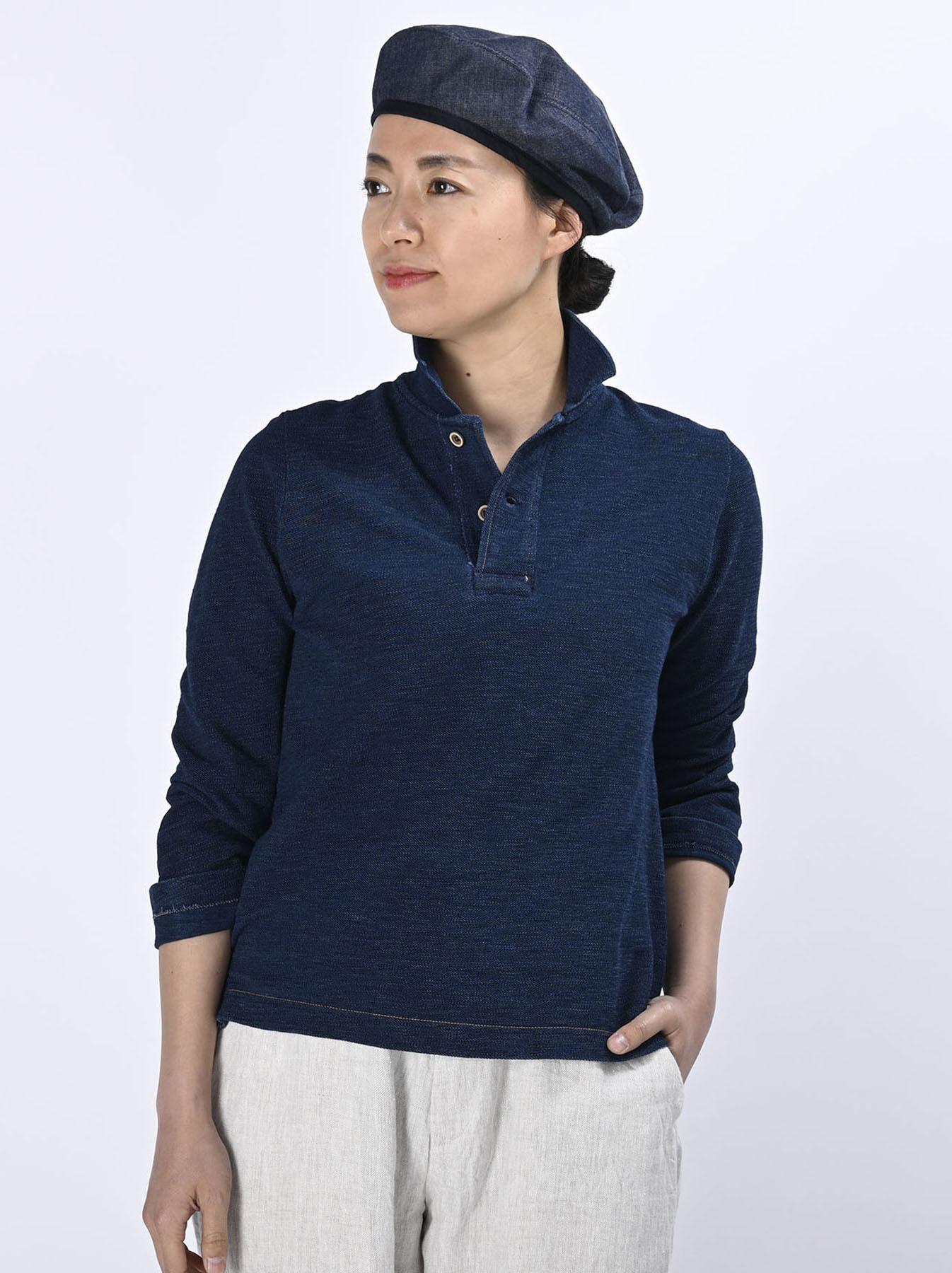 Indigo Kanoko Shiokaze Long-sleeved Square Polo Shirt (0521)-3