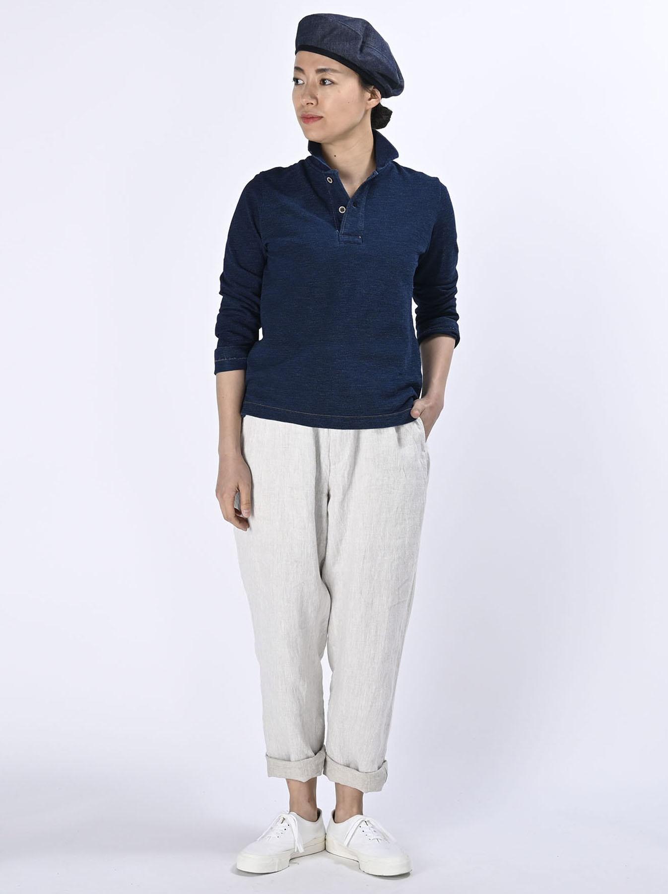 Indigo Kanoko Shiokaze Long-sleeved Square Polo Shirt (0521)-2