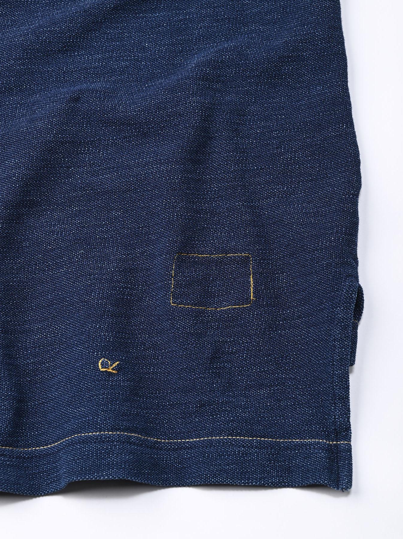 Indigo Kanoko Shiokaze Long-sleeved Square Polo Shirt (0521)-11