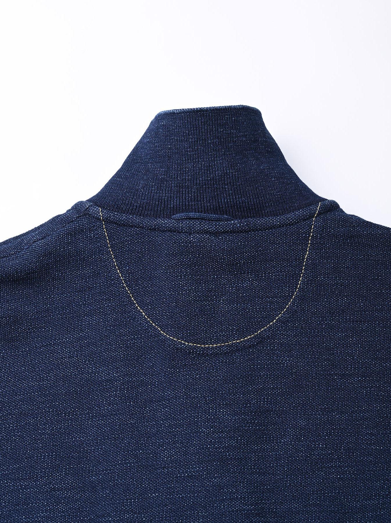 Indigo Kanoko Shiokaze Long-sleeved Square Polo Shirt (0521)-9