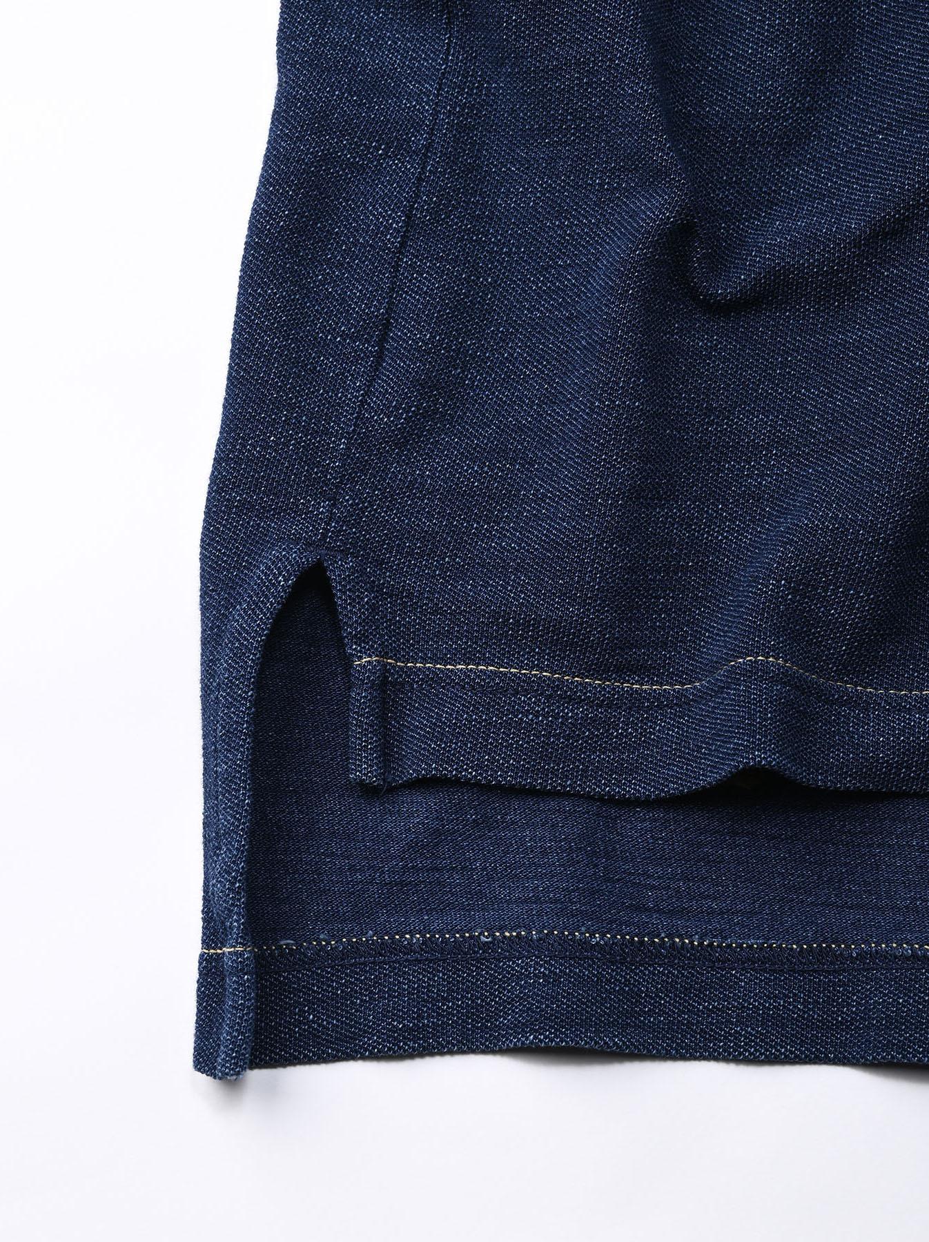 Indigo Kanoko Shiokaze Long-sleeved Square Polo Shirt (0521)-12