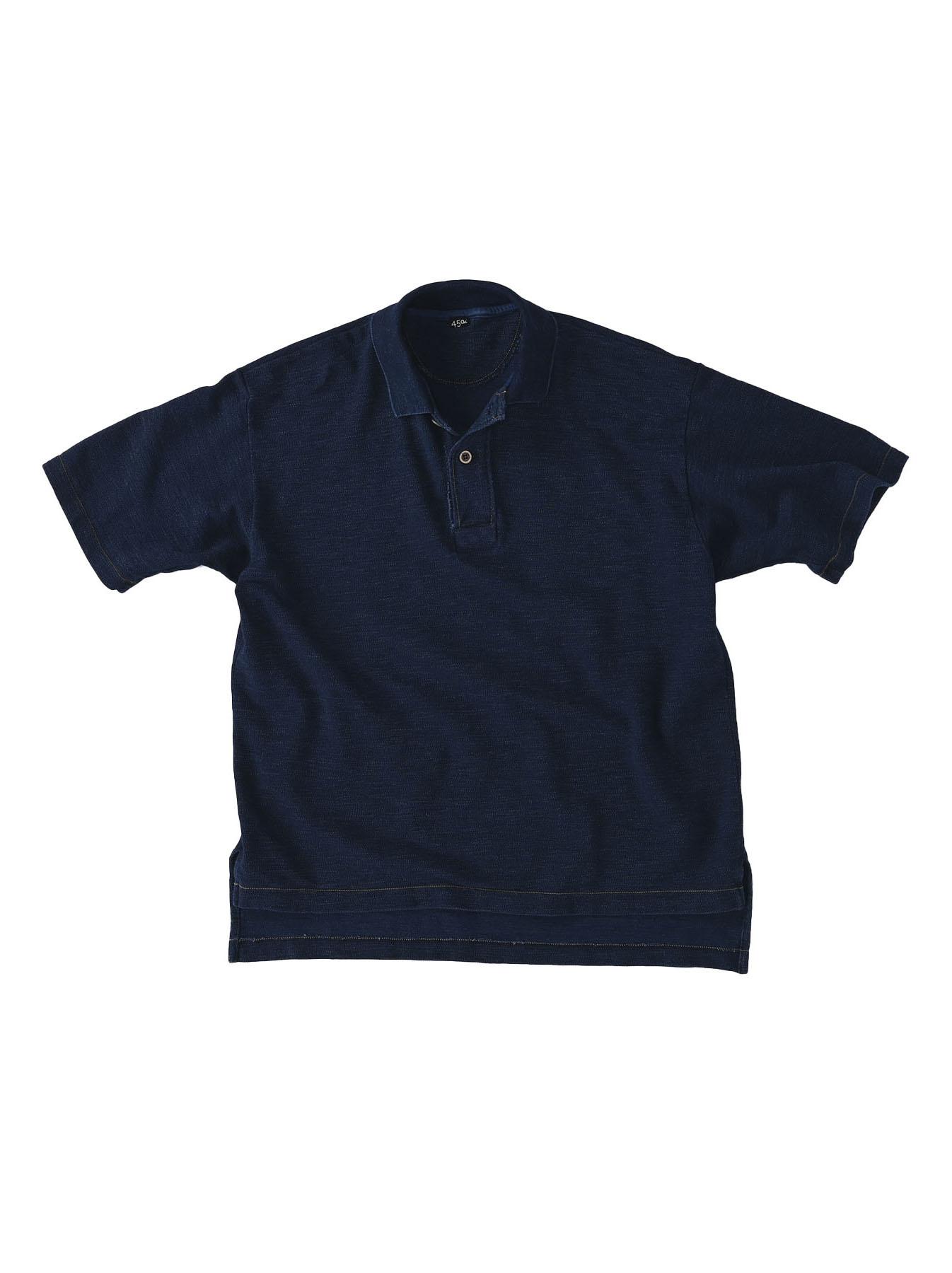 Indigo Kanoko Ocean Shiokaze Short-sleeved Polo Shirt (0521)-1