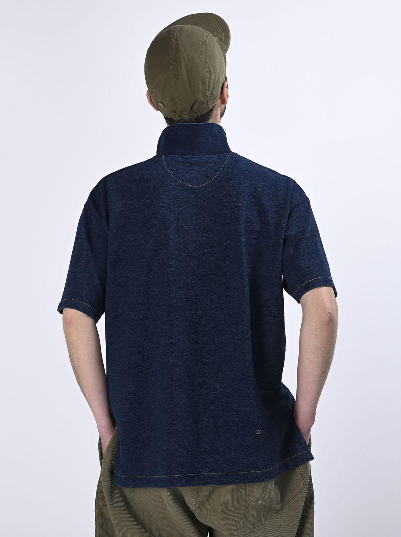 Indigo Kanoko Ocean Shiokaze Short-sleeved Polo Shirt (0521)-5