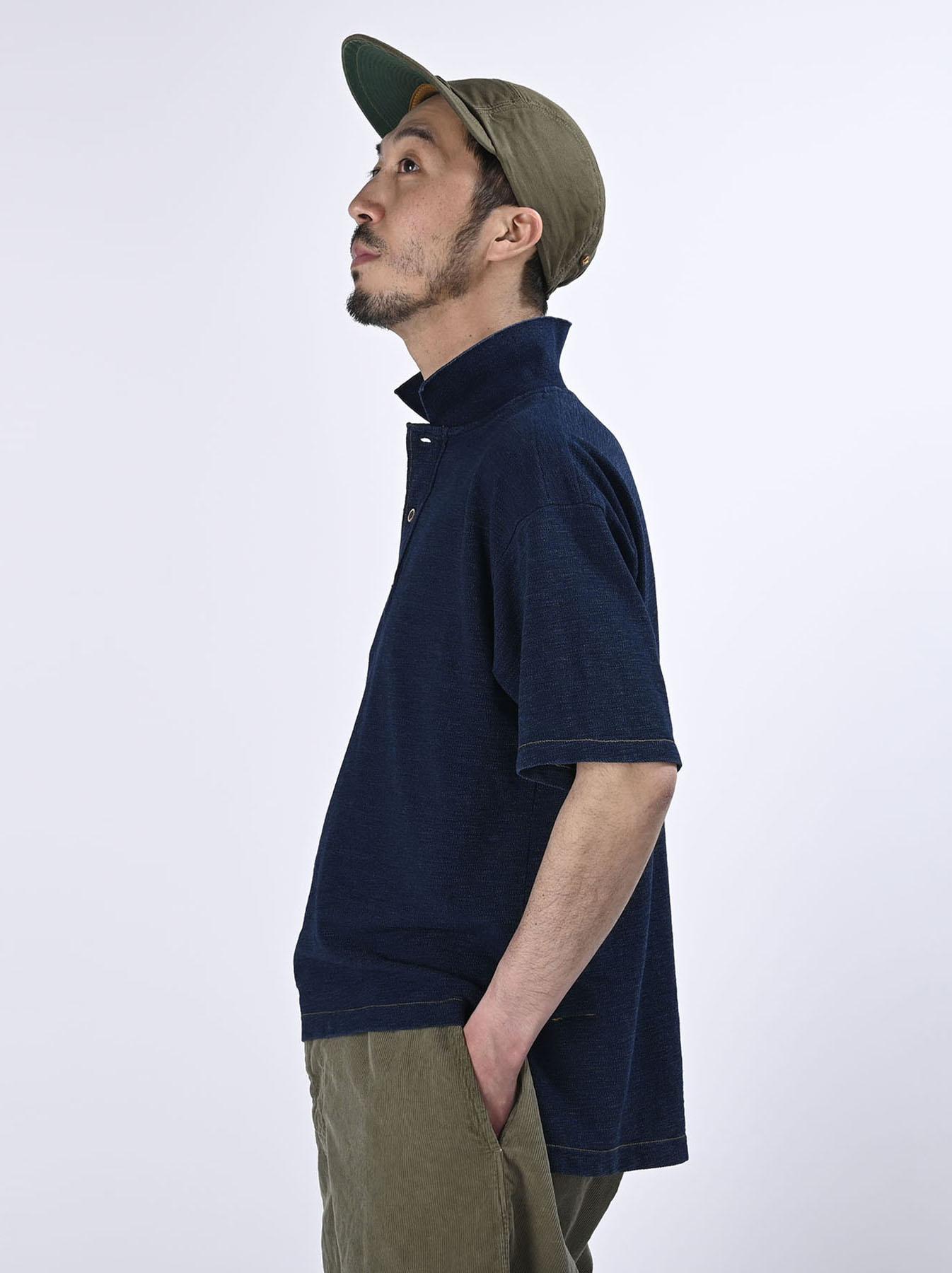 Indigo Kanoko Ocean Shiokaze Short-sleeved Polo Shirt (0521)-4