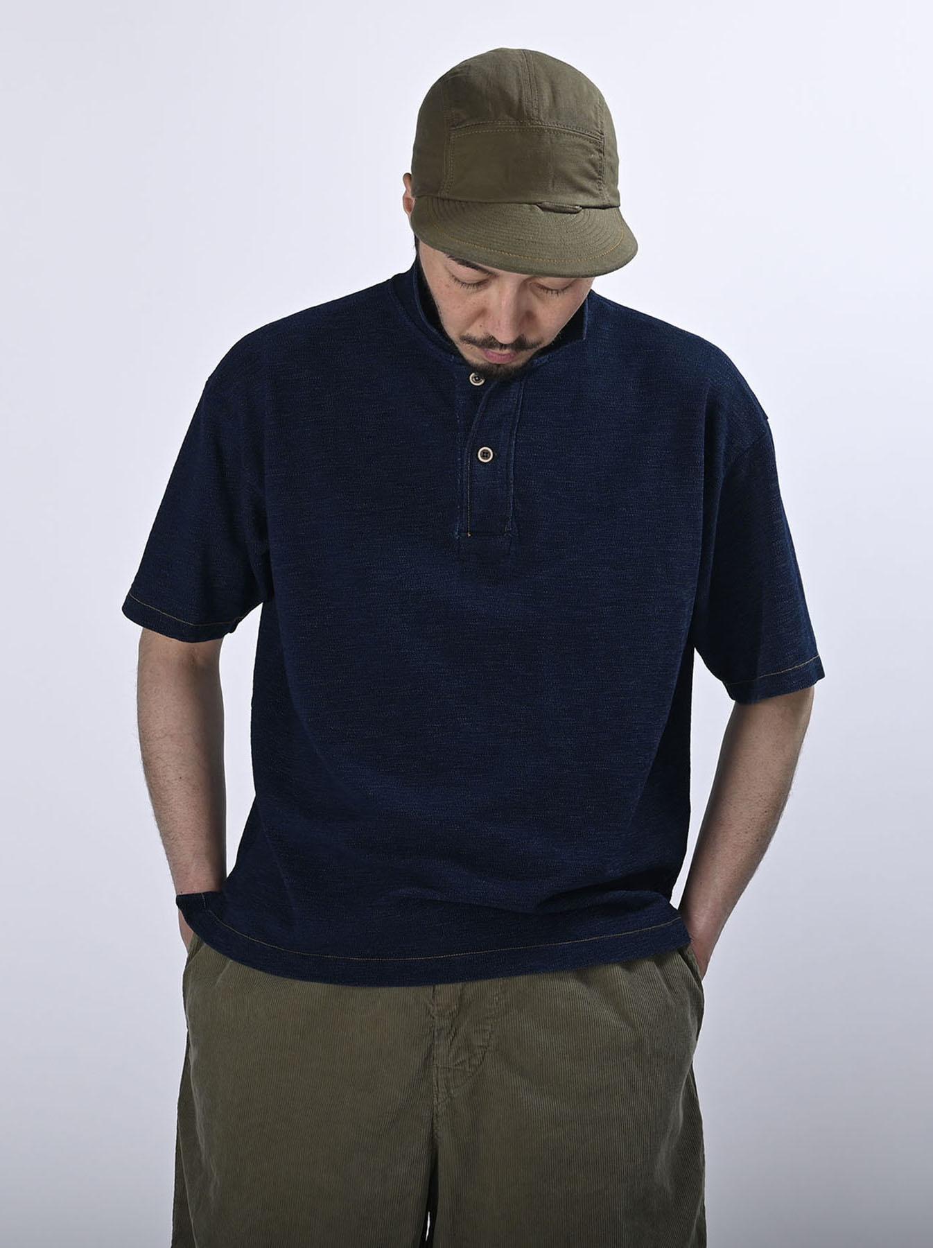 Indigo Kanoko Ocean Shiokaze Short-sleeved Polo Shirt (0521)-3