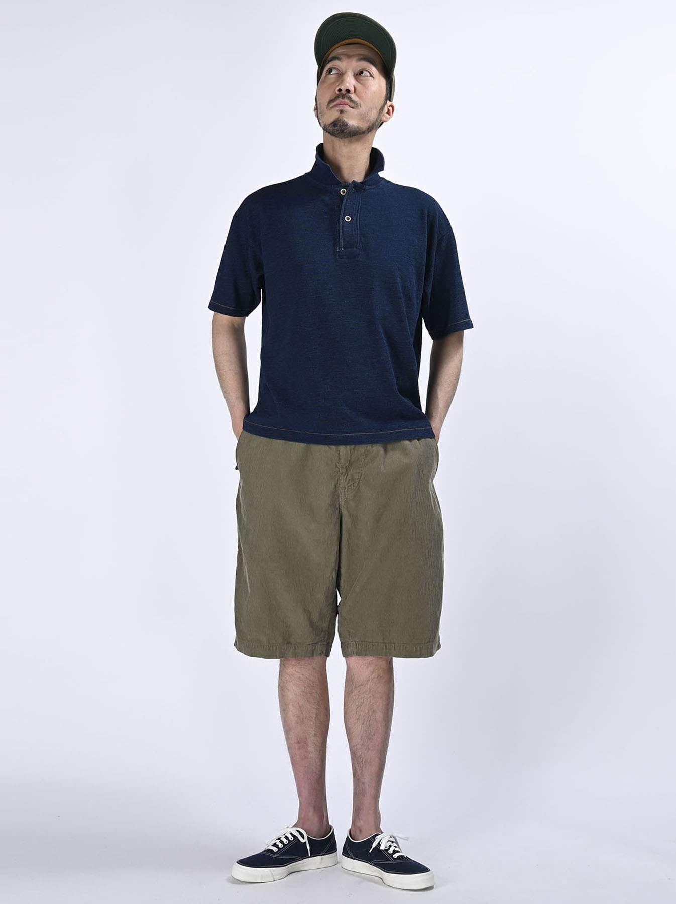 Indigo Kanoko Ocean Shiokaze Short-sleeved Polo Shirt (0521)-2