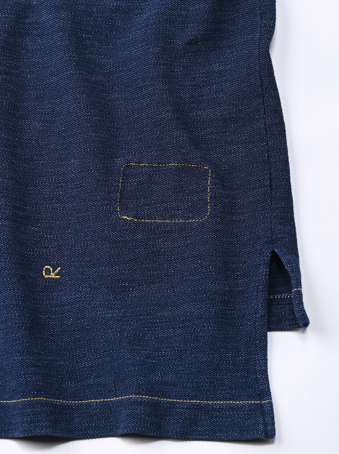 Indigo Kanoko Ocean Shiokaze Short-sleeved Polo Shirt (0521)-12