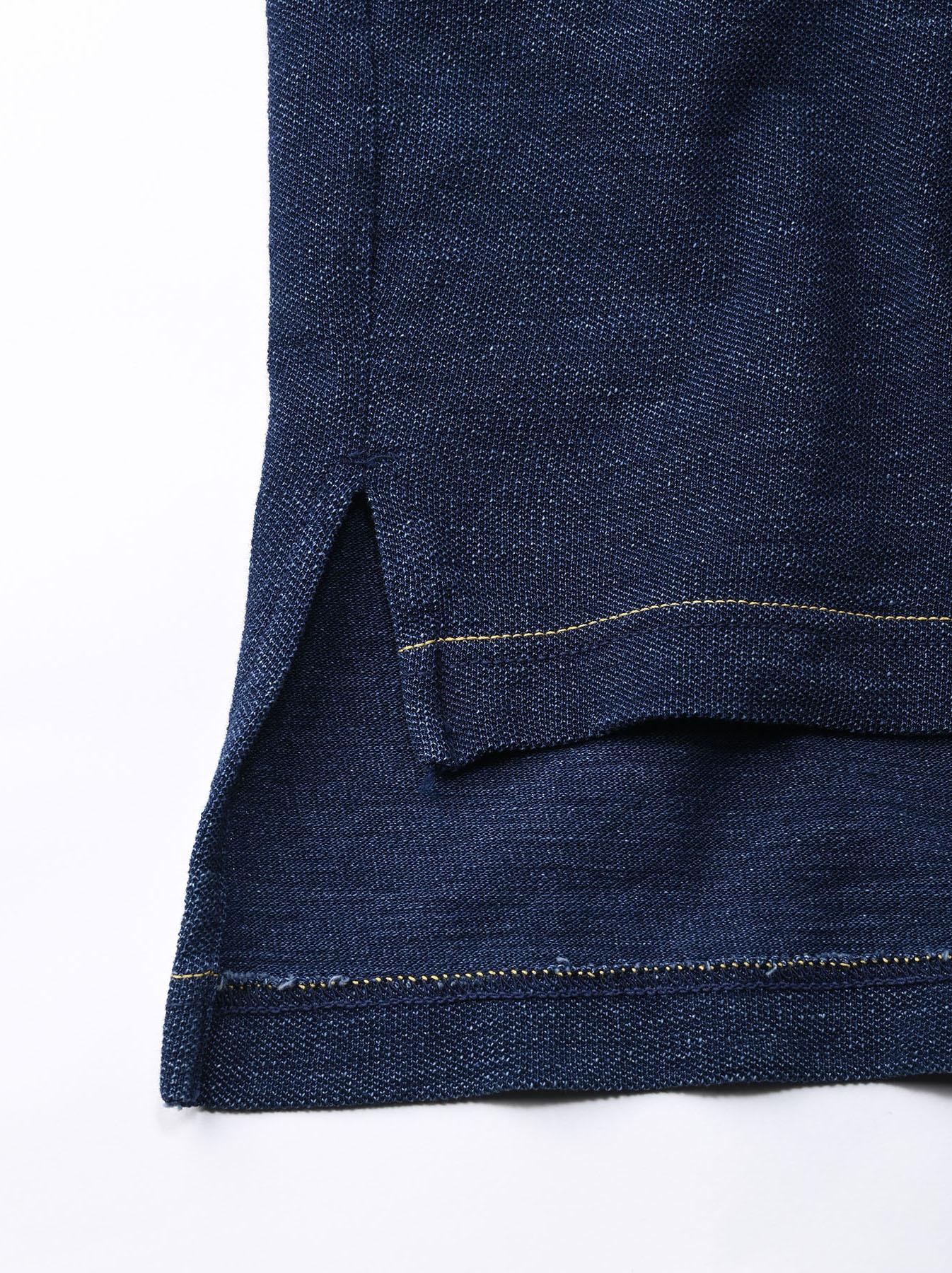 Indigo Kanoko Ocean Shiokaze Short-sleeved Polo Shirt (0521)-11
