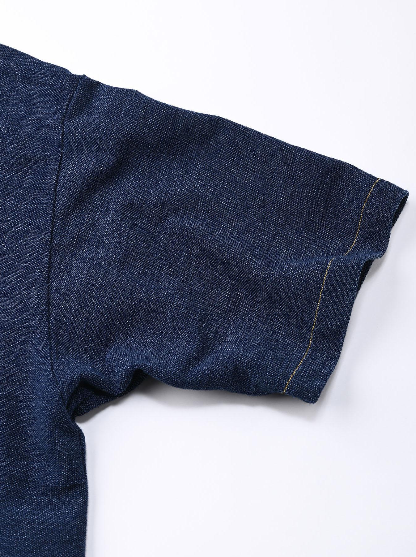 Indigo Kanoko Ocean Shiokaze Short-sleeved Polo Shirt (0521)-10