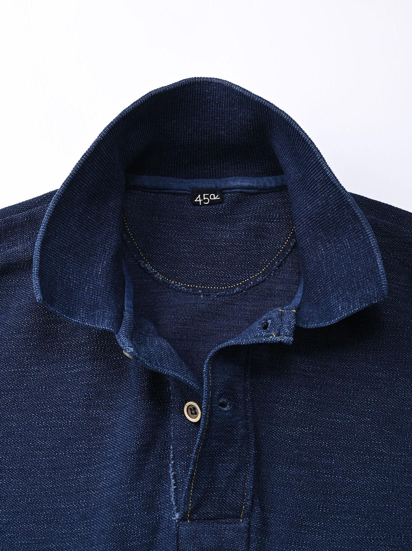 Indigo Kanoko Ocean Shiokaze Short-sleeved Polo Shirt (0521)-8