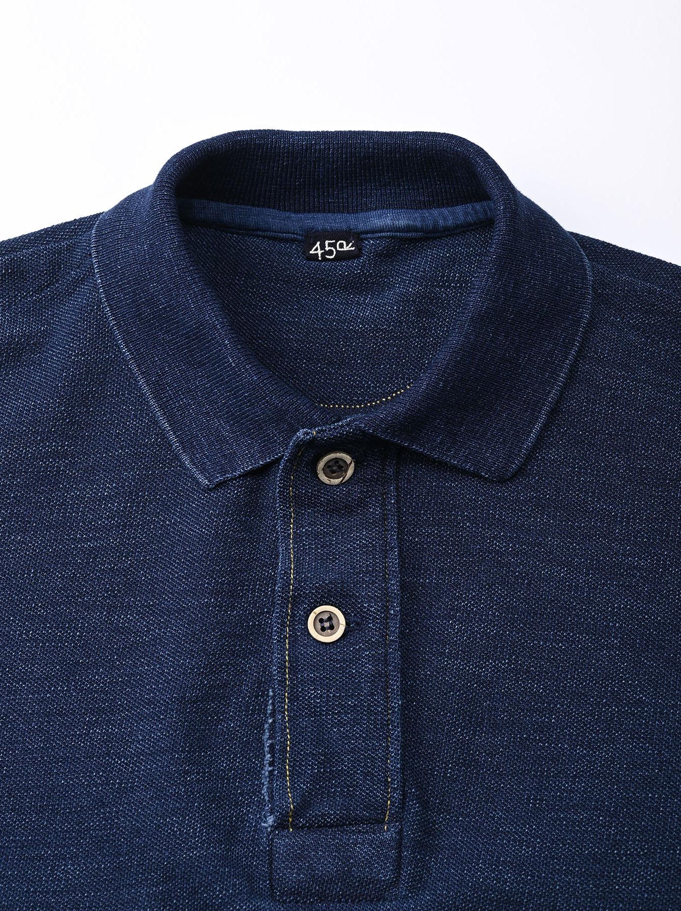 Indigo Kanoko Ocean Shiokaze Short-sleeved Polo Shirt (0521)-7