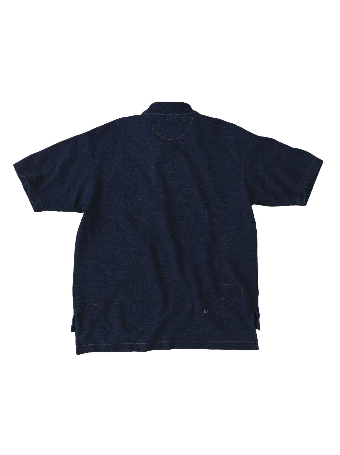 Indigo Kanoko Ocean Shiokaze Short-sleeved Polo Shirt (0521)-6