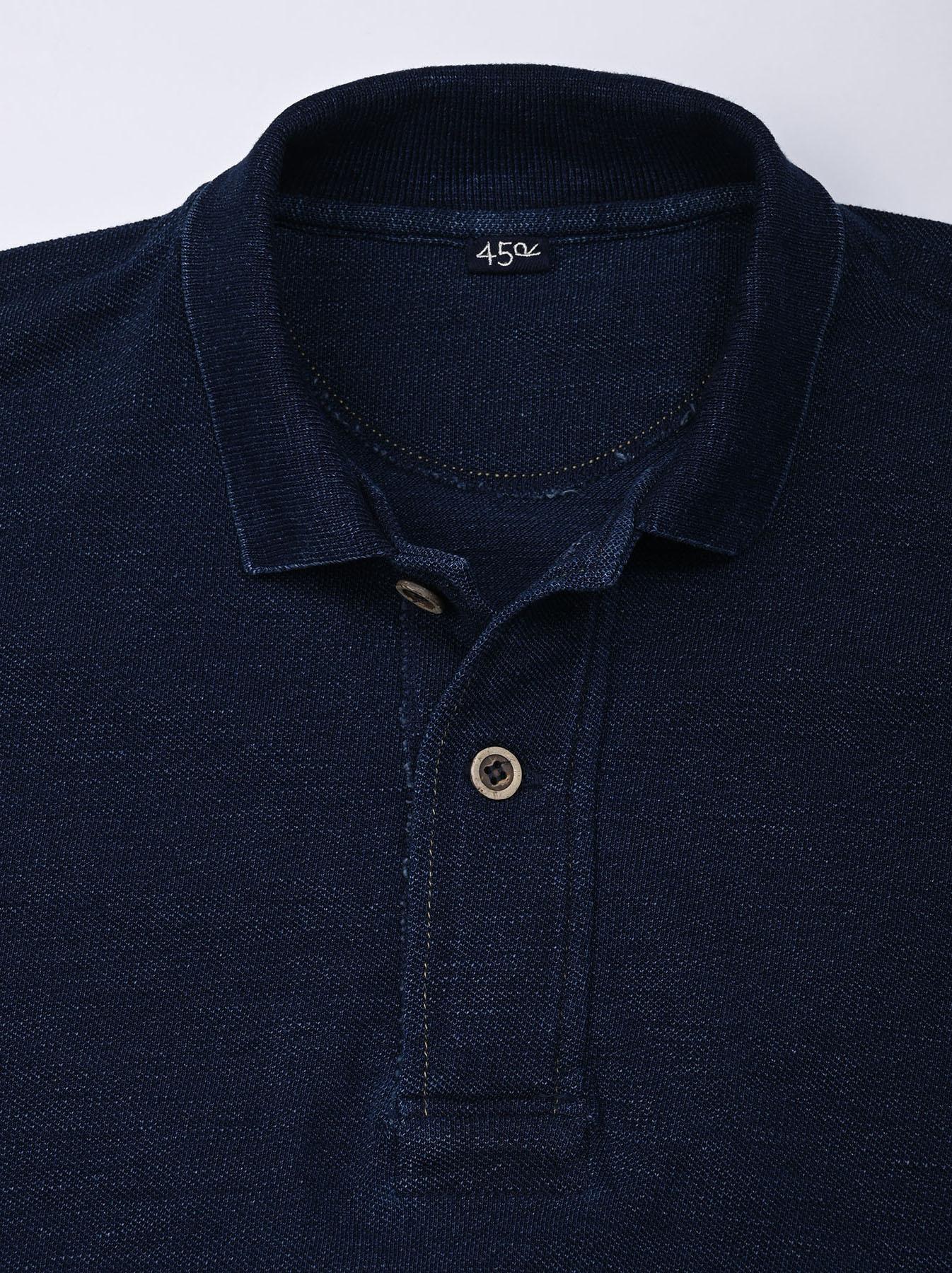 Indigo Kanoko Ocean Shiokaze Short-sleeved Polo Dress (0521)-6