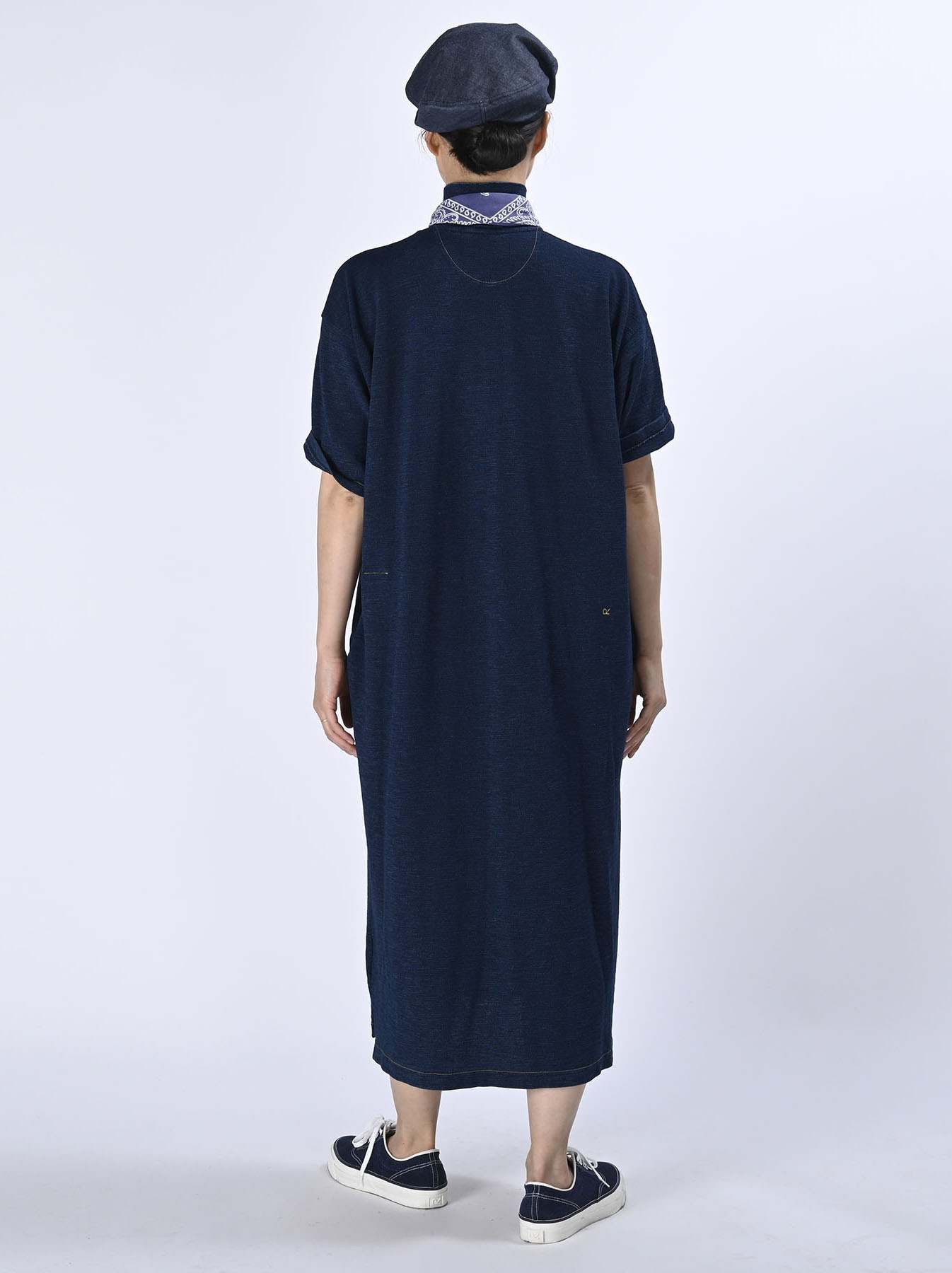 Indigo Kanoko Ocean Shiokaze Short-sleeved Polo Dress (0521)-4