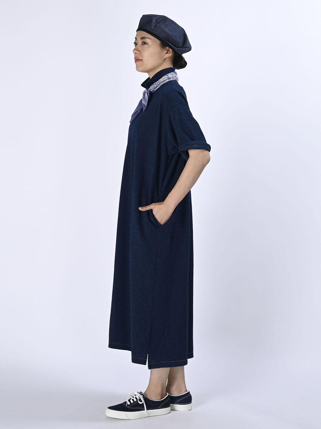 Indigo Kanoko Ocean Shiokaze Short-sleeved Polo Dress (0521)-3