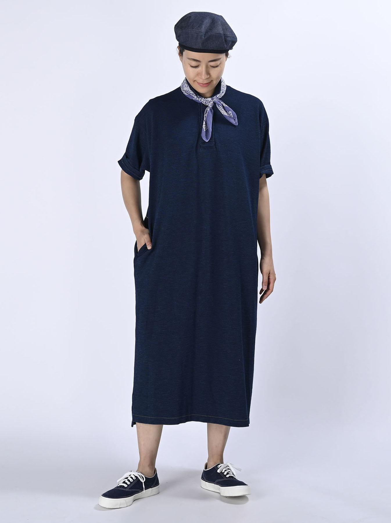 Indigo Kanoko Ocean Shiokaze Short-sleeved Polo Dress (0521)-2
