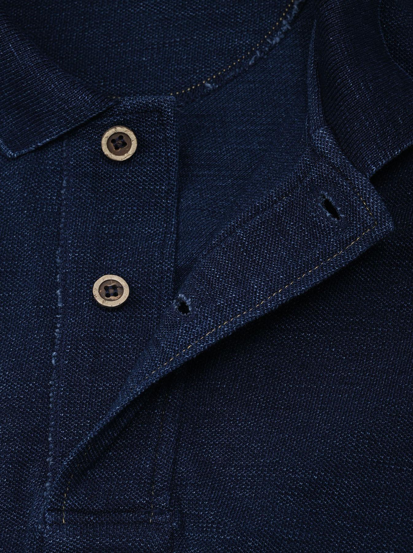 Indigo Kanoko Ocean Shiokaze Short-sleeved Polo Dress (0521)-7