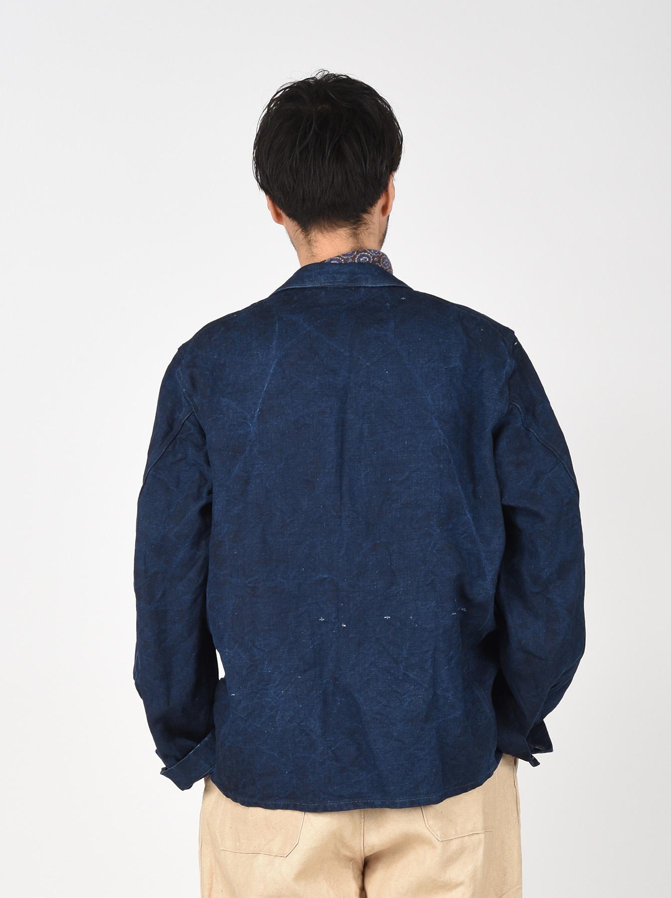 Indigo Linen Duck Asama Jacket-5