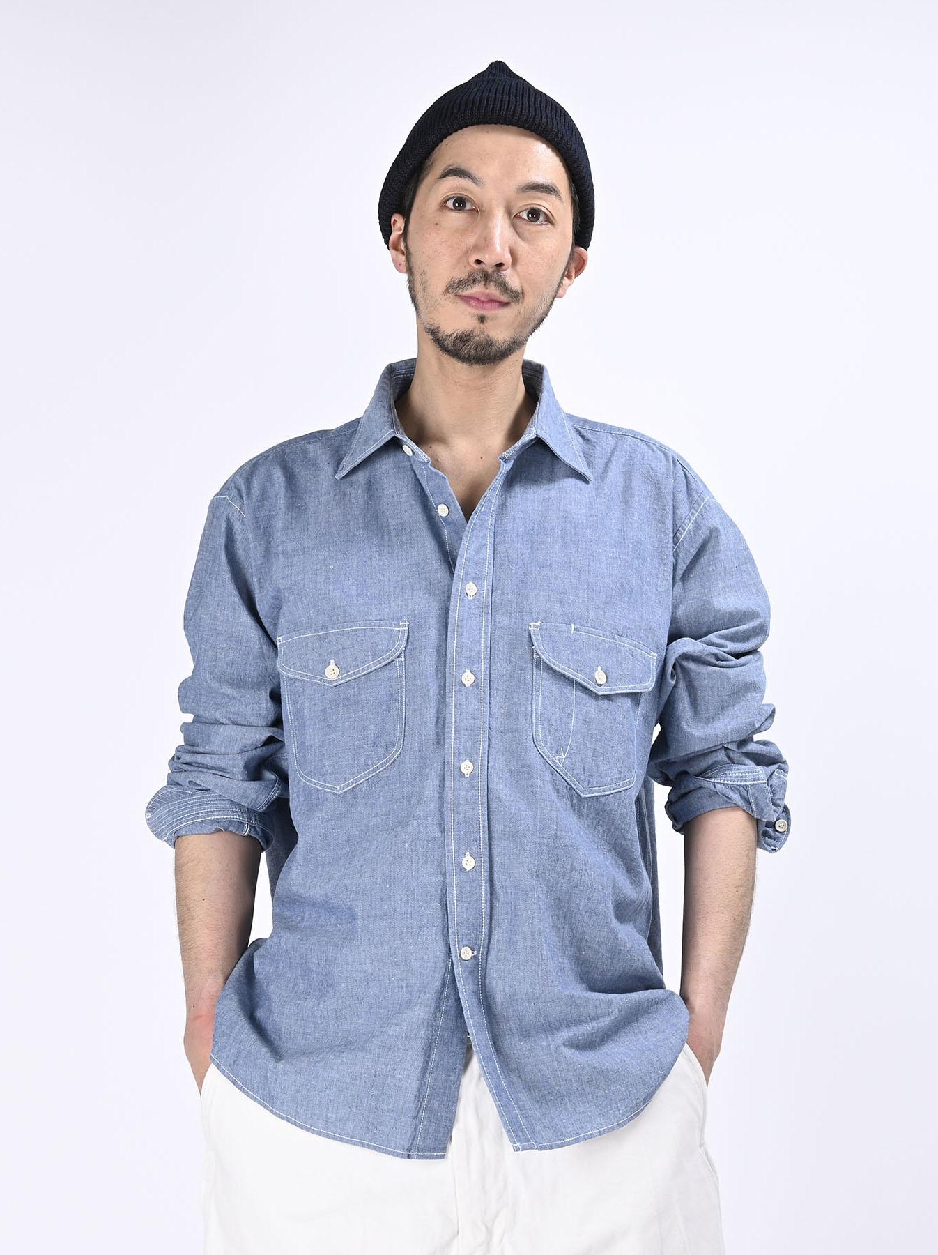 Okome-hira Dungaree 908 Ocean Work Shirt (0621)-4