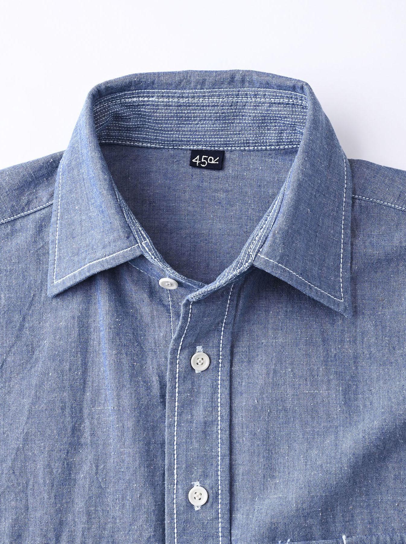 Okome-hira Dungaree 908 Ocean Work Shirt (0621)-11