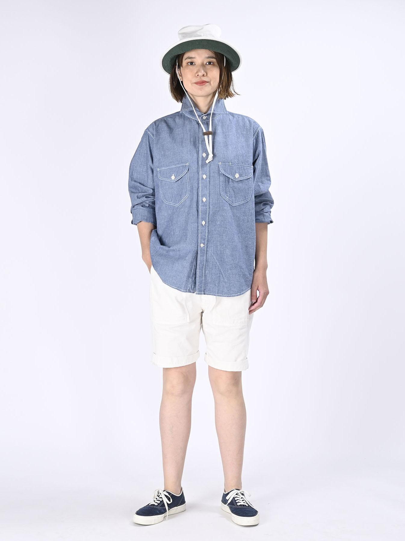 Okome-hira Dungaree 908 Ocean Work Shirt (0621)-3