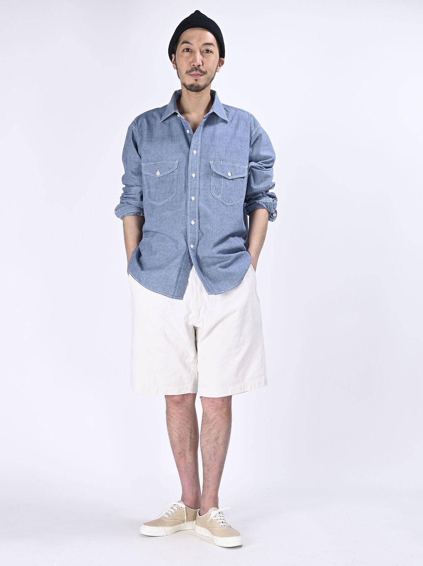 Okome-hira Dungaree 908 Ocean Work Shirt (0621)-2