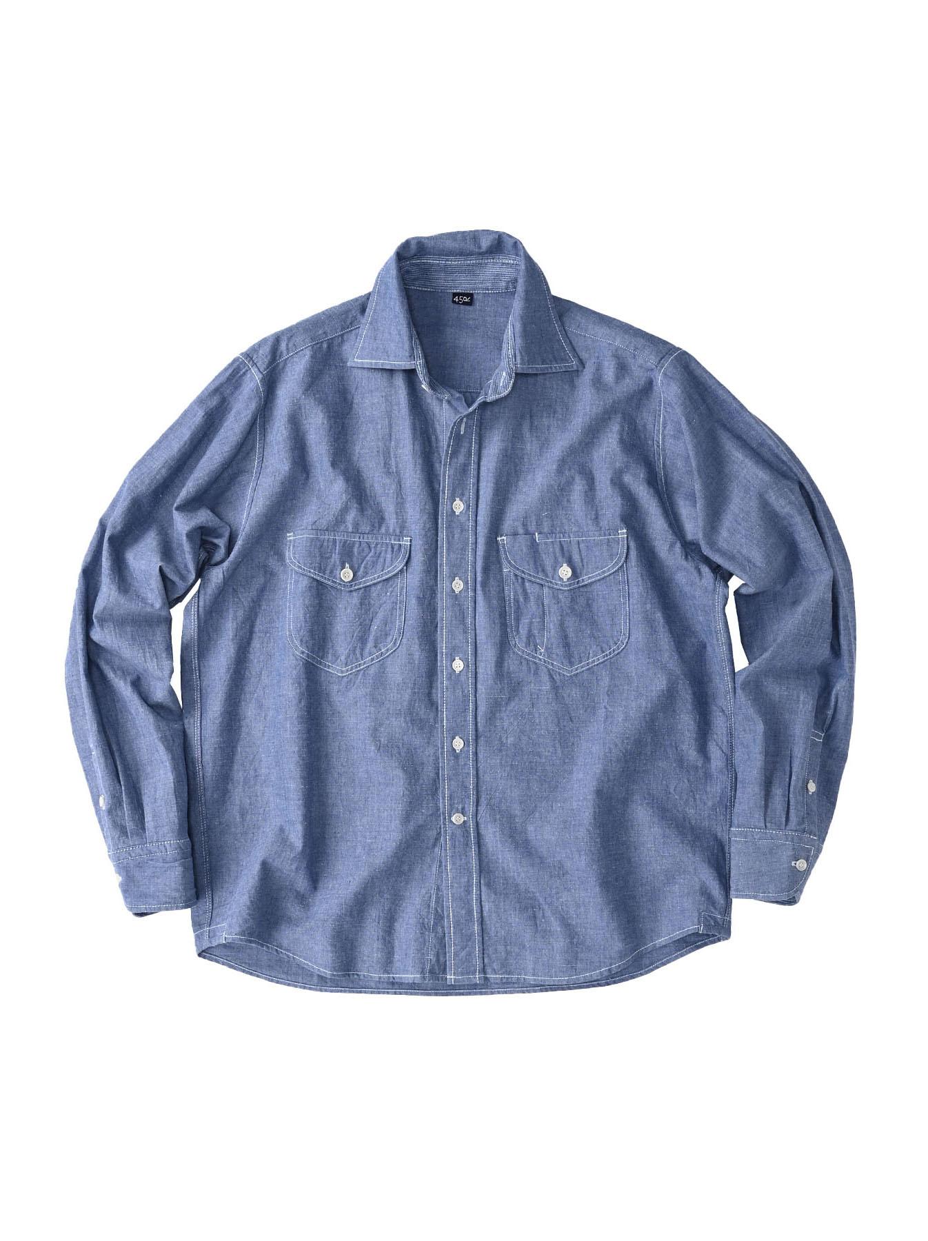 Okome-hira Dungaree 908 Ocean Work Shirt (0621)-1