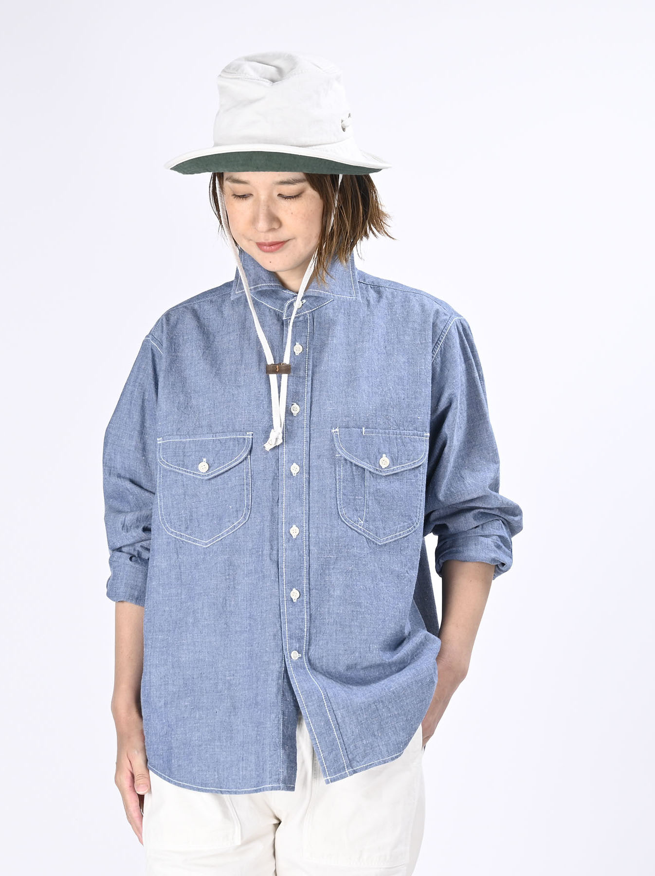 Okome-hira Dungaree 908 Ocean Work Shirt (0621)-7