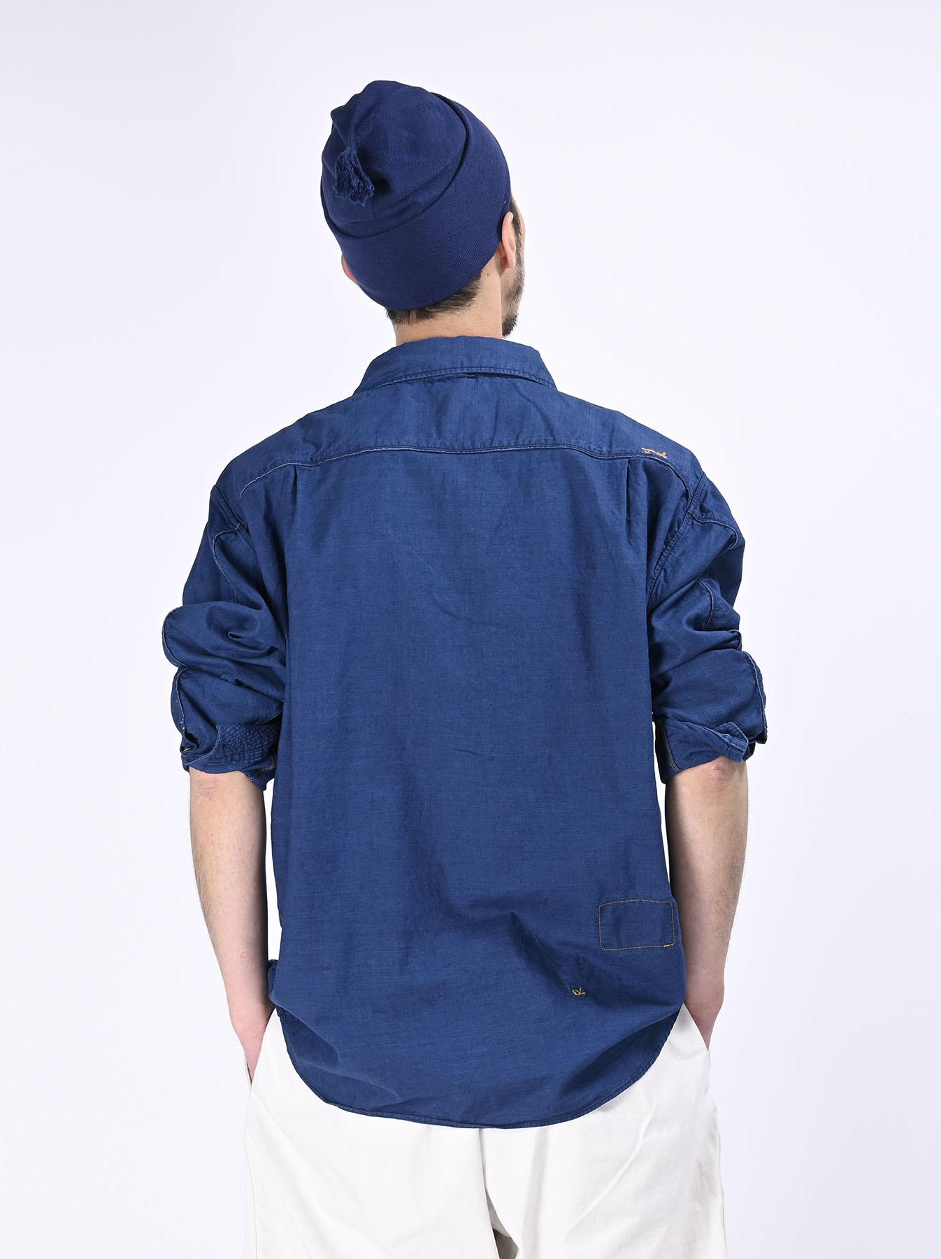 Indigo Thin Oxford Horizon Ocean Shirt (0621)-6