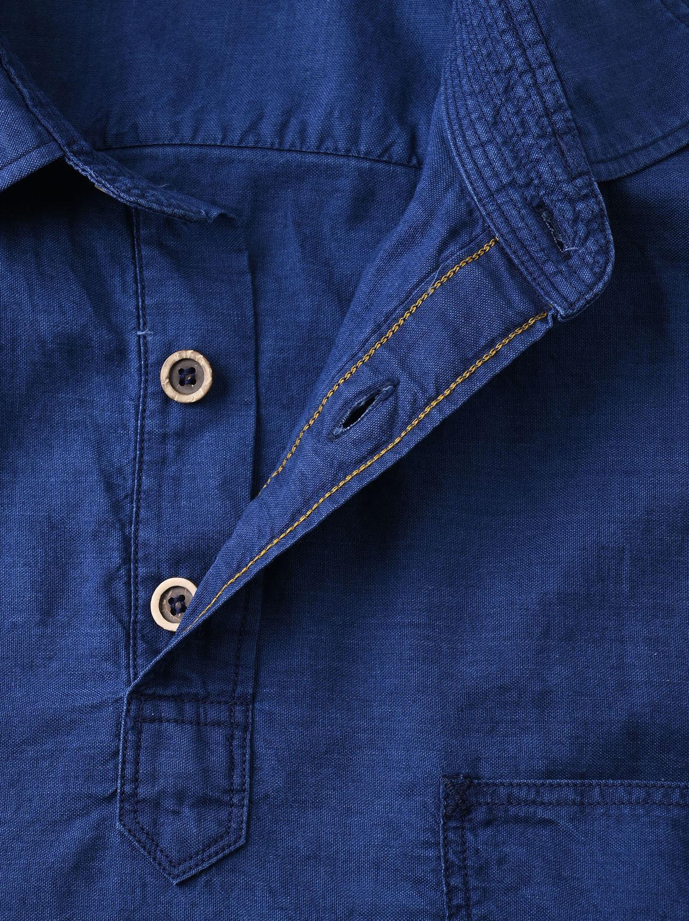 Indigo Thin Oxford Horizon Ocean Shirt (0621)-11