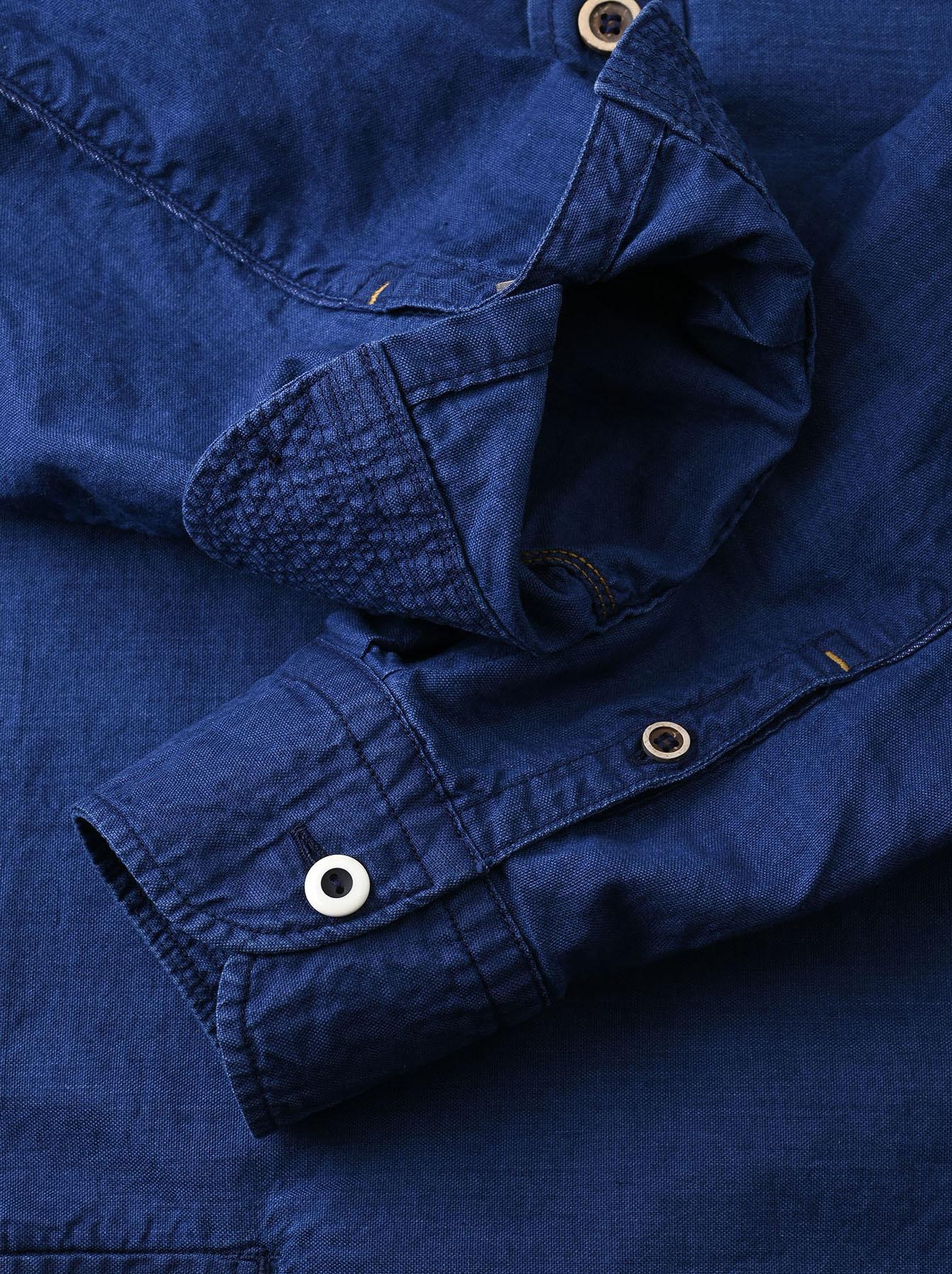 Indigo Thin Oxford Horizon Ocean Shirt (0621)-12