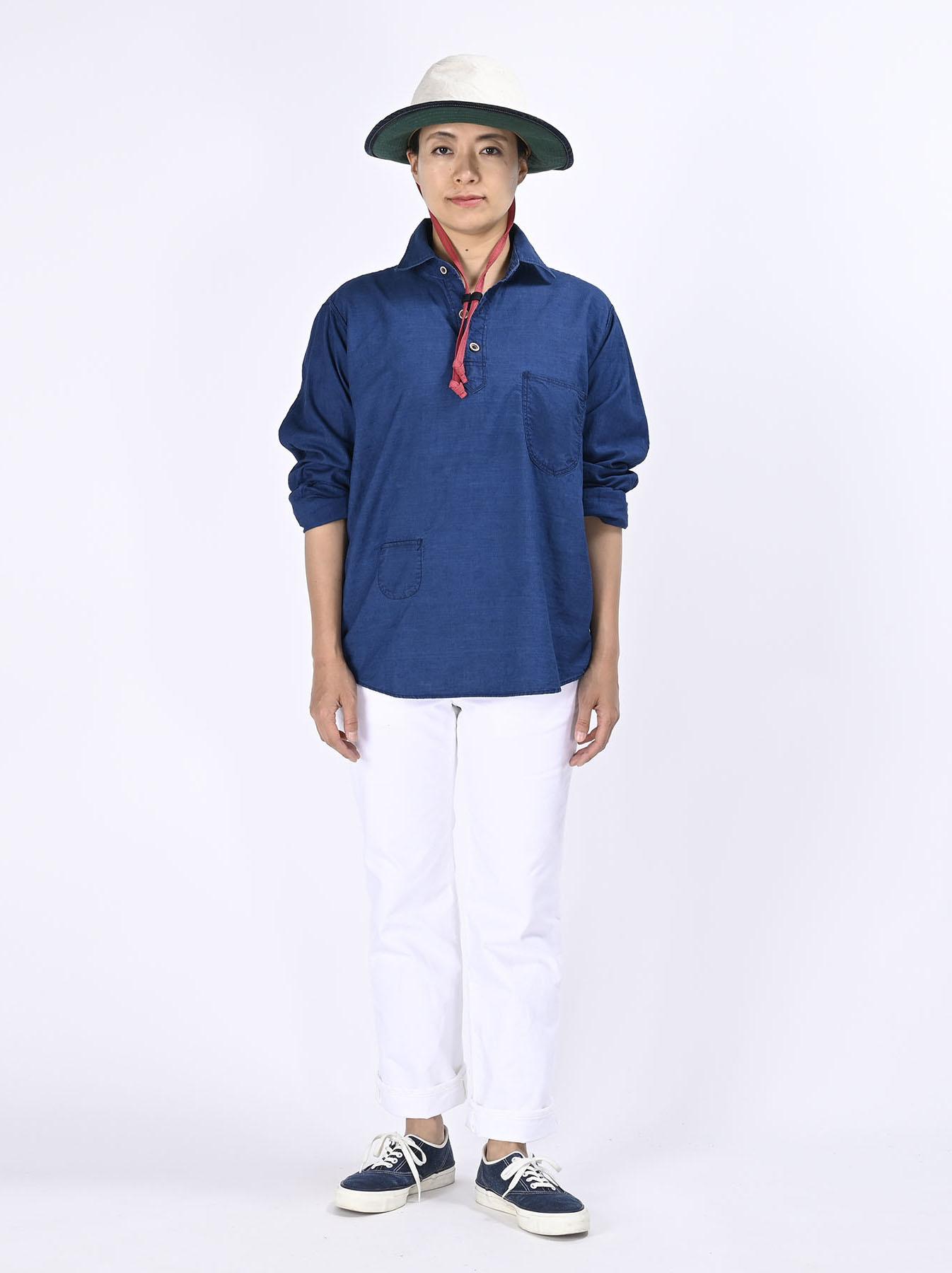 Indigo Thin Oxford Horizon Ocean Shirt (0621)-3