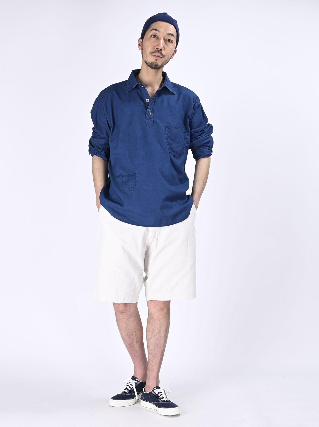 Indigo Thin Oxford Horizon Ocean Shirt (0621)-2