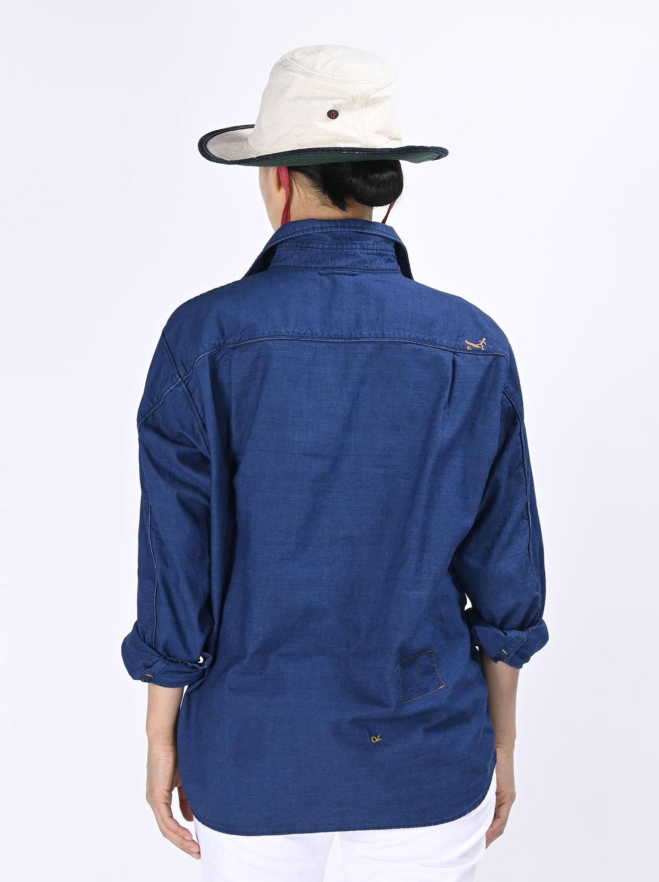Indigo Thin Oxford Horizon Ocean Shirt (0621)-9