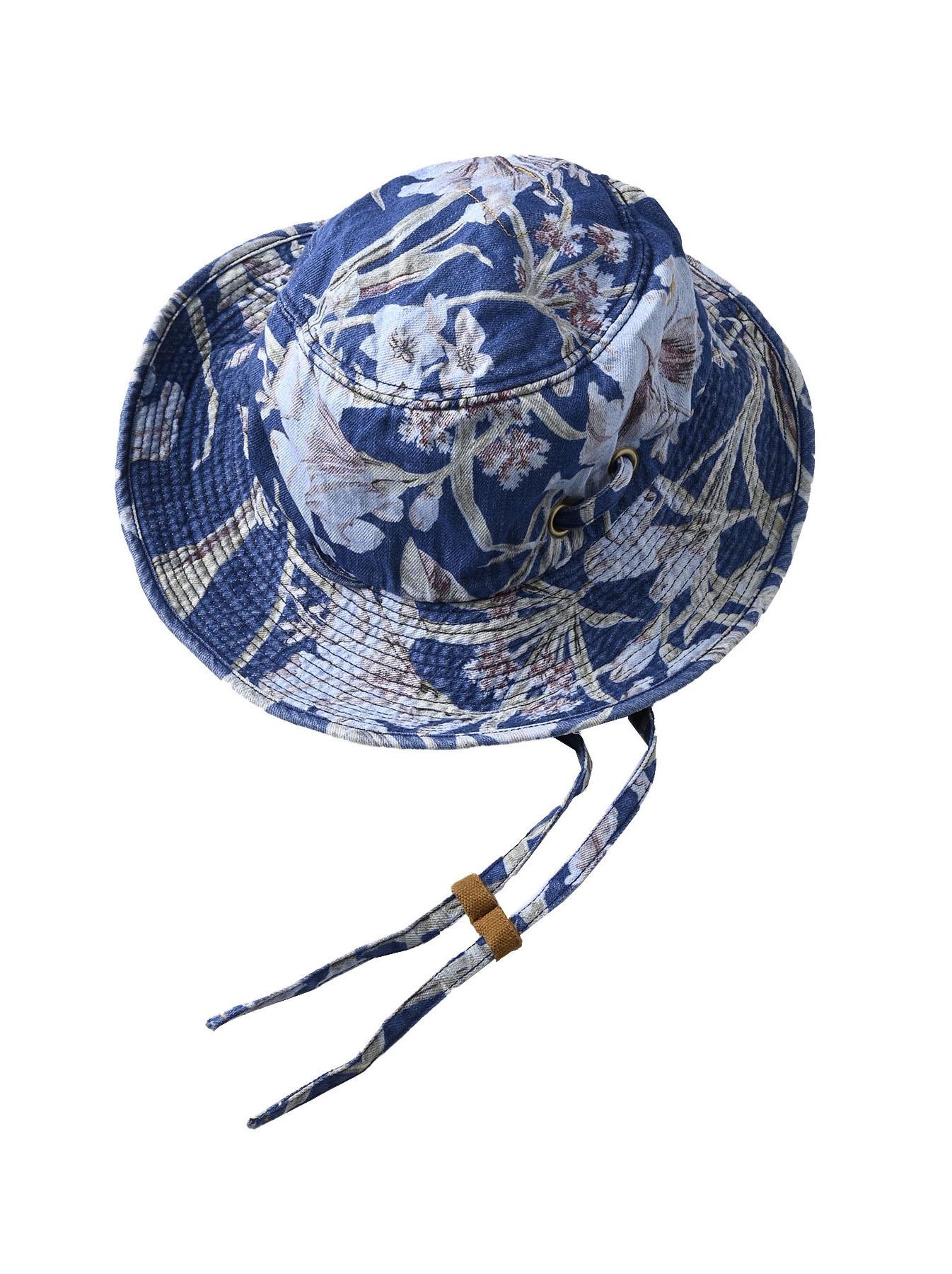 Cotton Lily Print Sail Hat (0621)-3