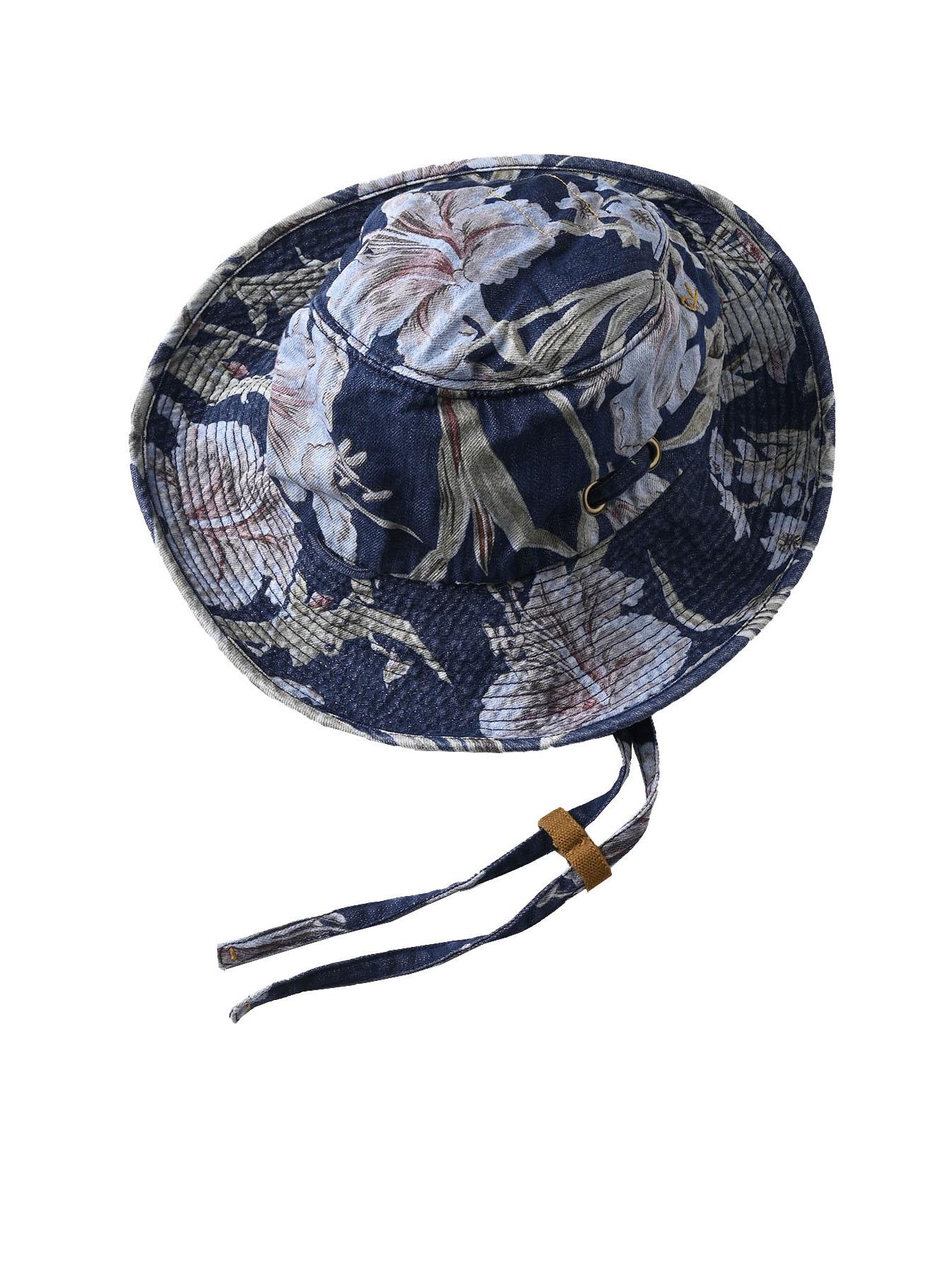Cotton Lily Print Sail Hat (0621)-1