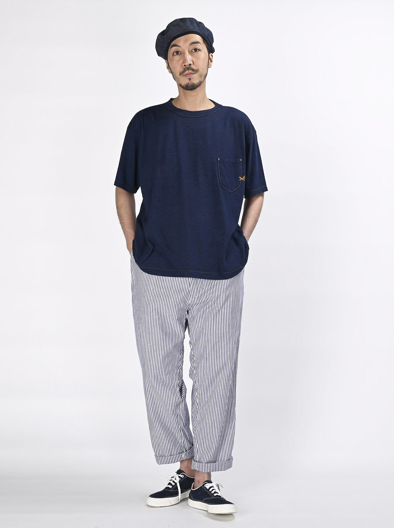 Indigo Hayama-kun Embroidered 908 Ocean T-shirt (0621)-2