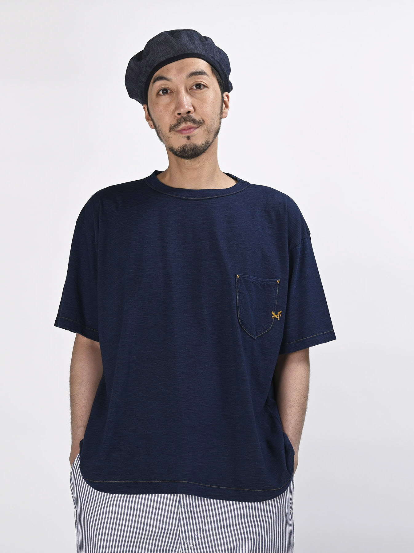 Indigo Hayama-kun Embroidered 908 Ocean T-shirt (0621)-3