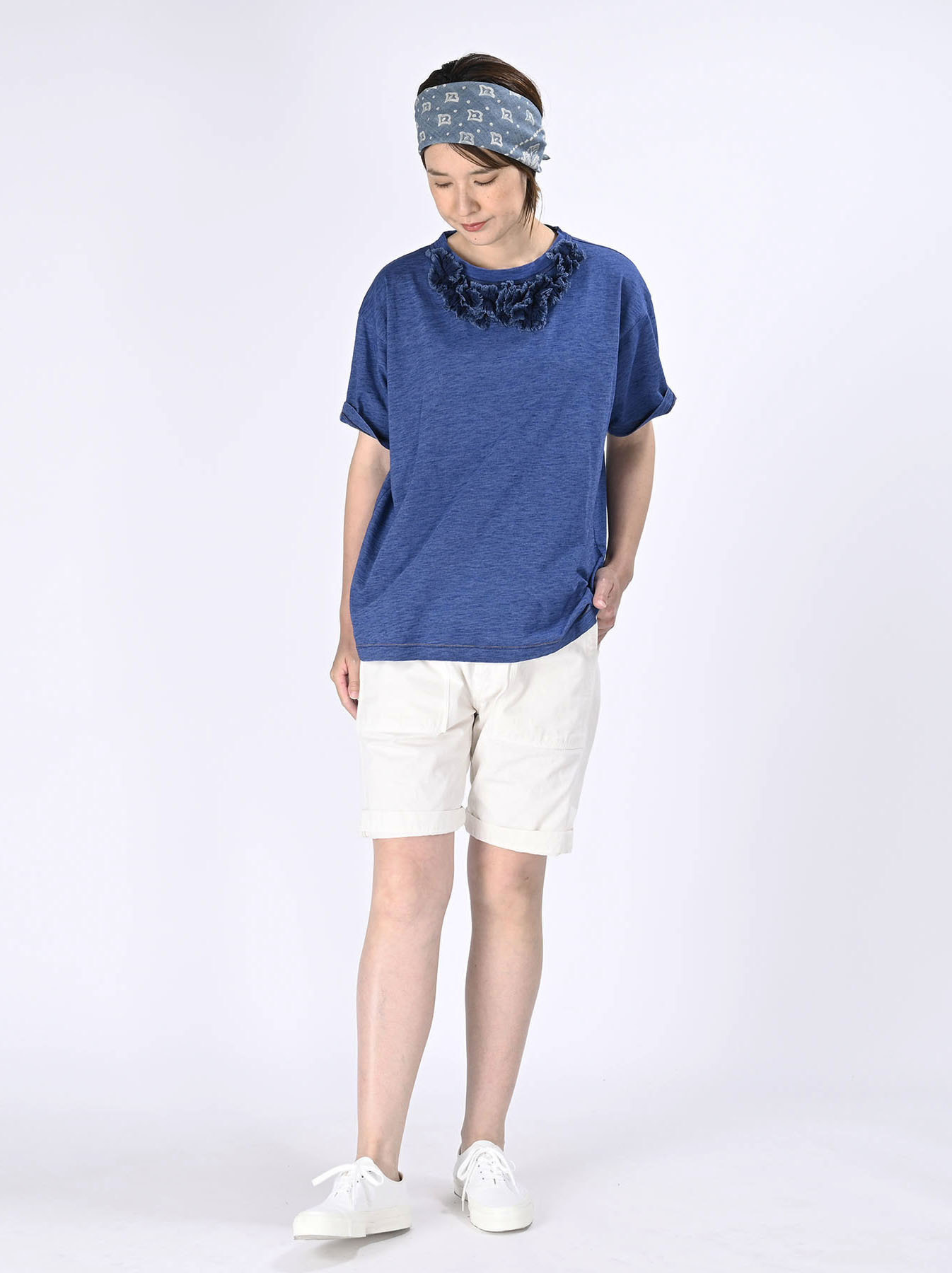 Indigo Tenjiku Lei Frill Ocean T-shirt (0621)-2
