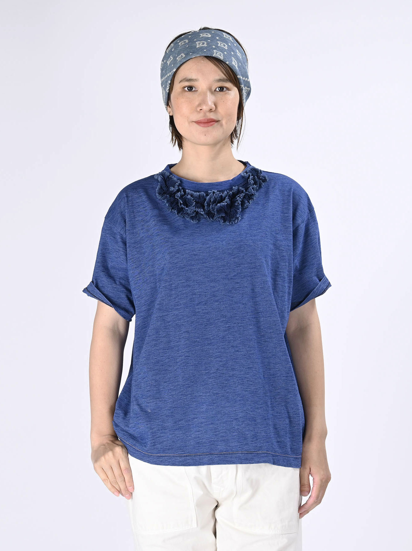Indigo Tenjiku Lei Frill Ocean T-shirt (0621)-3