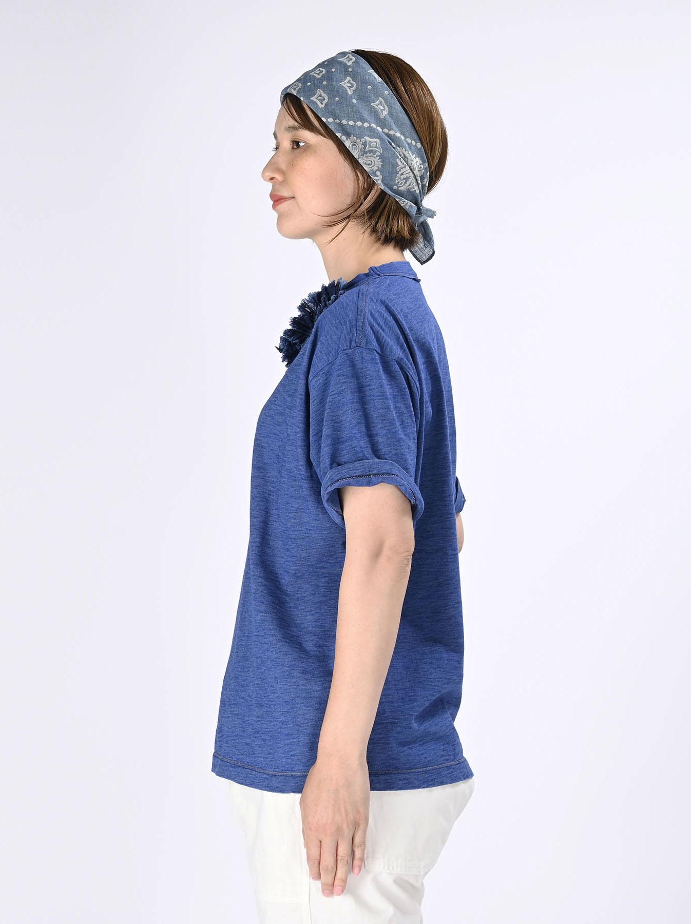 Indigo Tenjiku Lei Frill Ocean T-shirt (0621)-4