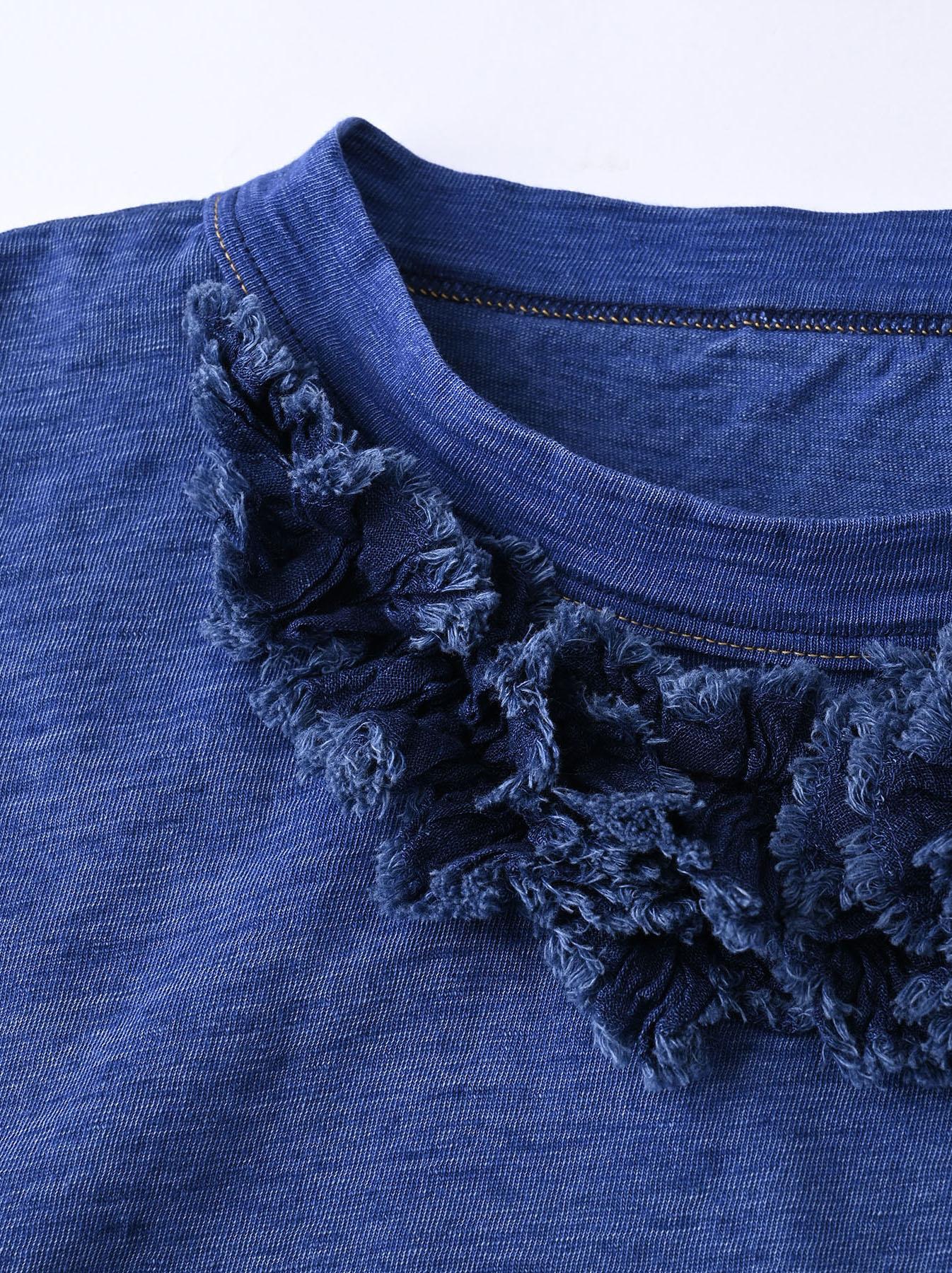 Indigo Tenjiku Lei Frill Ocean T-shirt (0621)-8