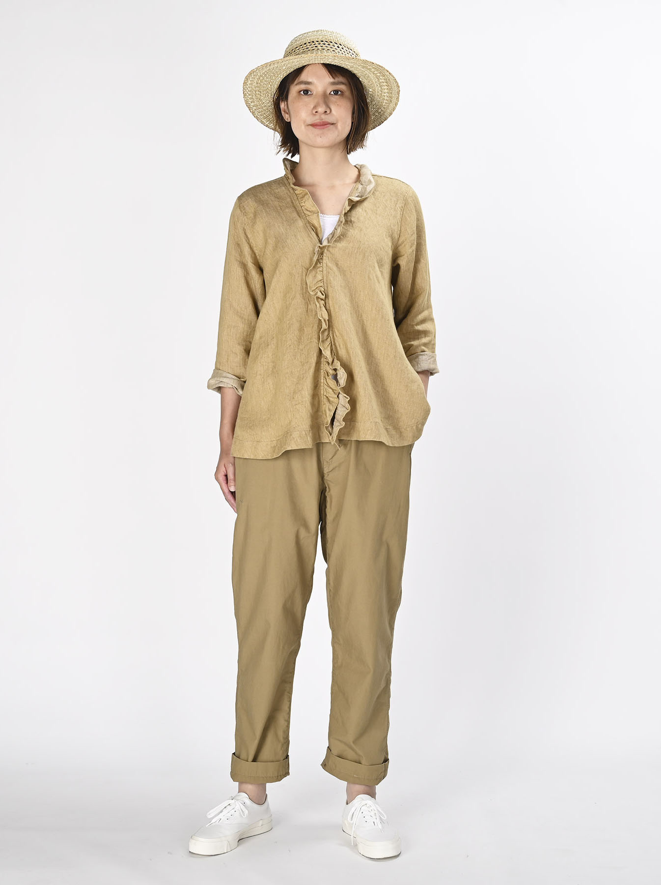 Indian Linen Twill Cache-coeur Blouse (0621)-7