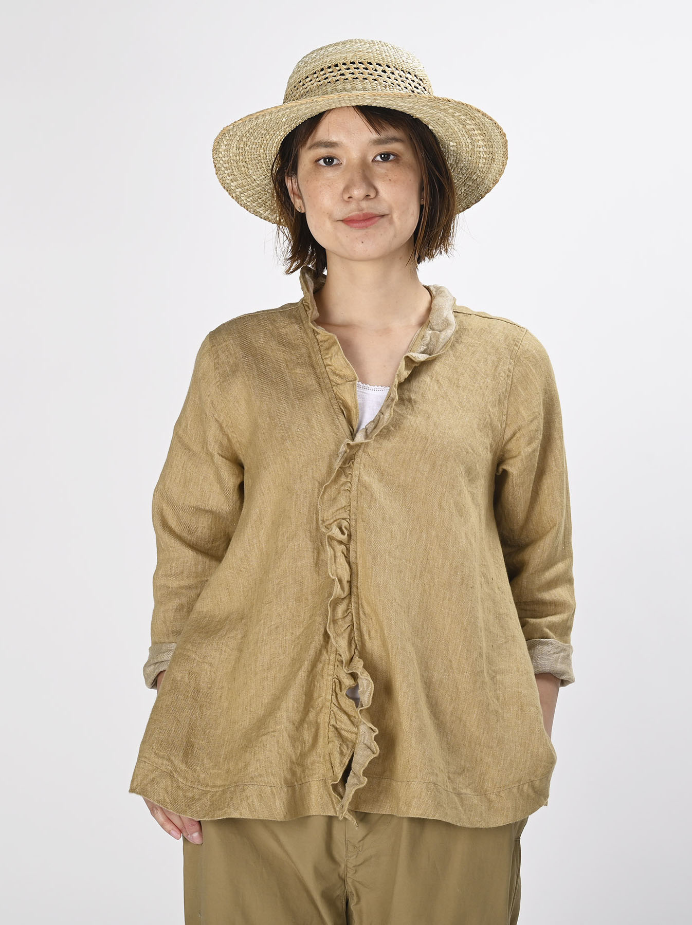 Indian Linen Twill Cache-coeur Blouse (0621)-4